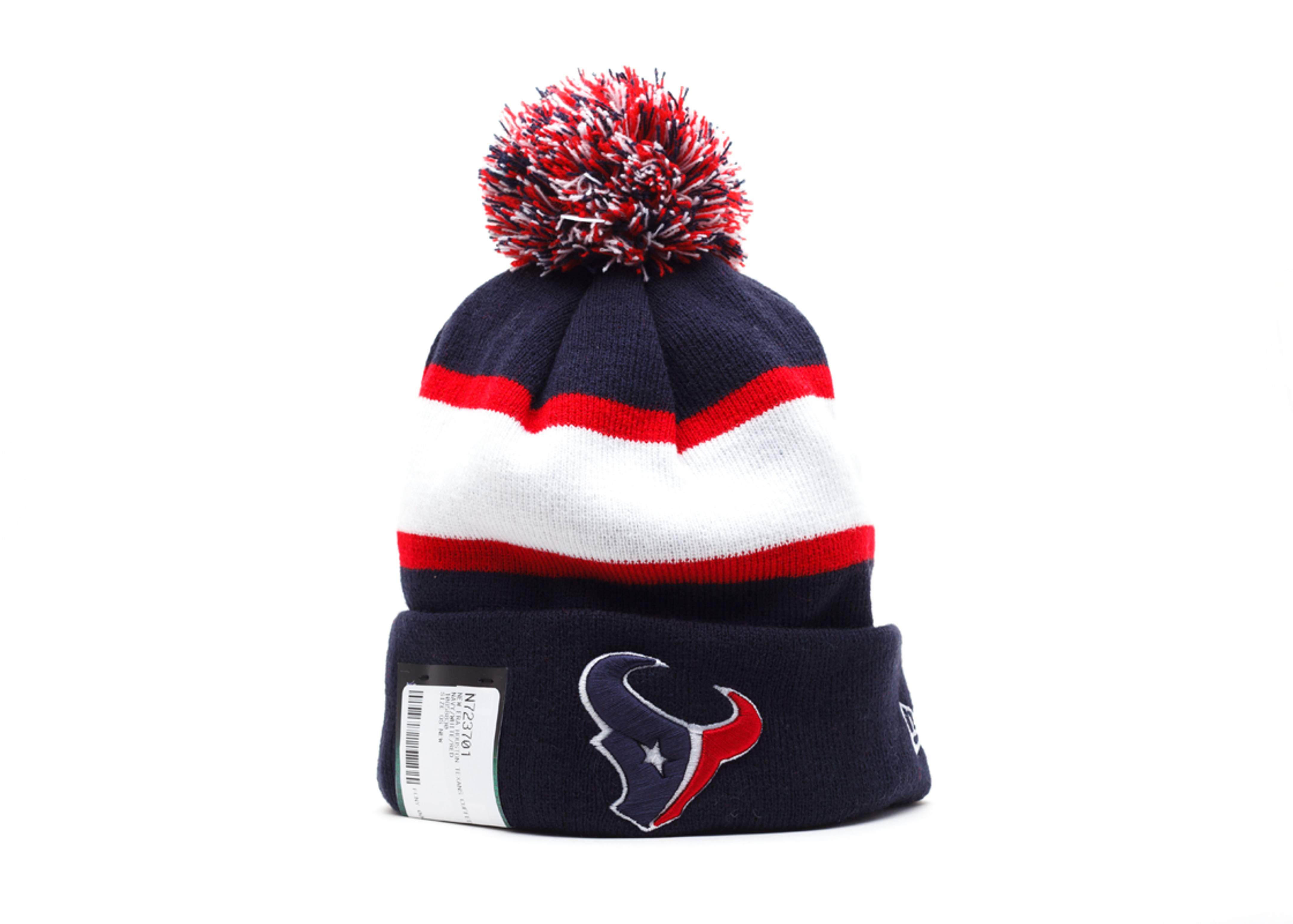 houston texans cuffed pom knit beanie