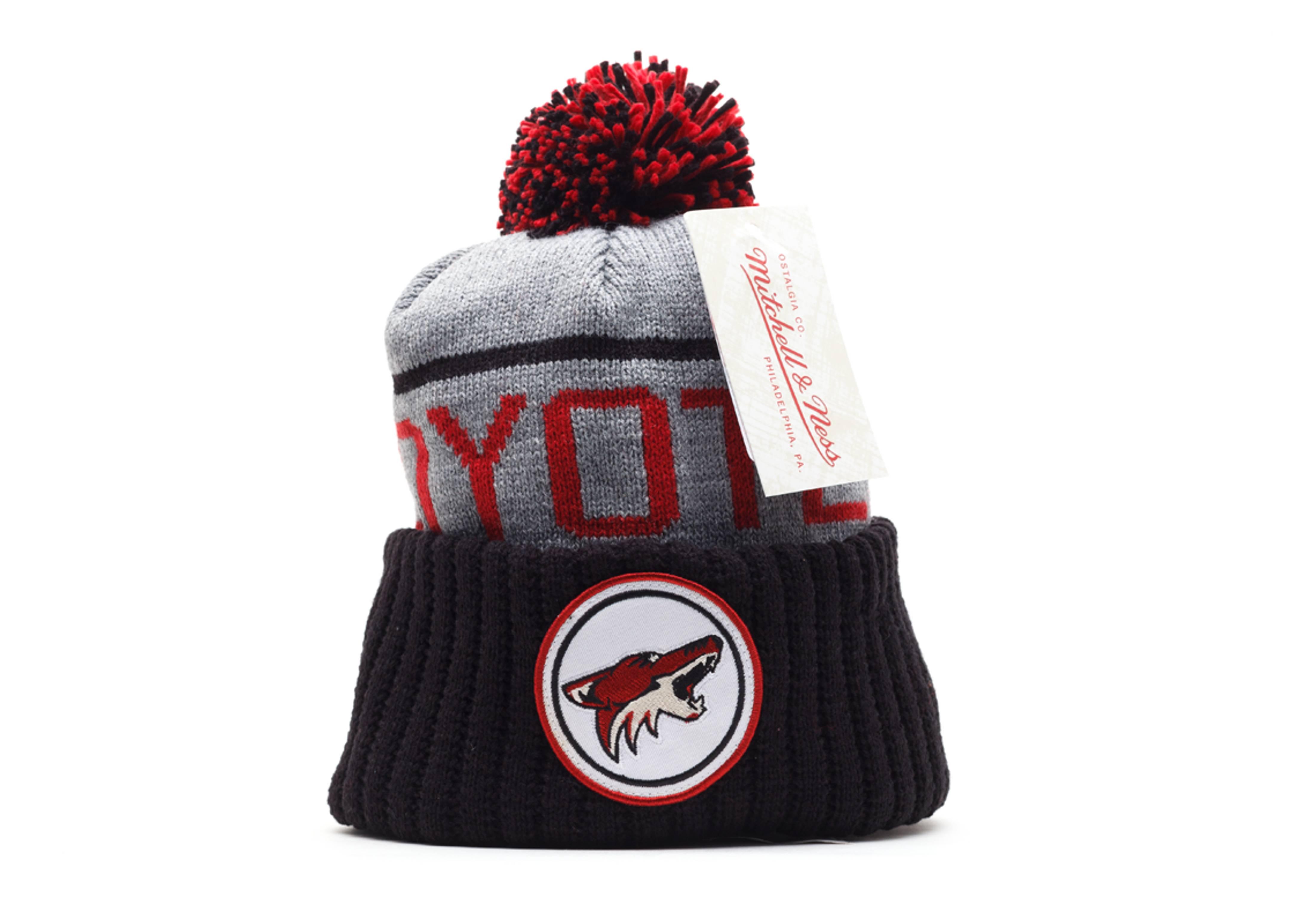 phoenix coyotes cuffed pom knit beanie