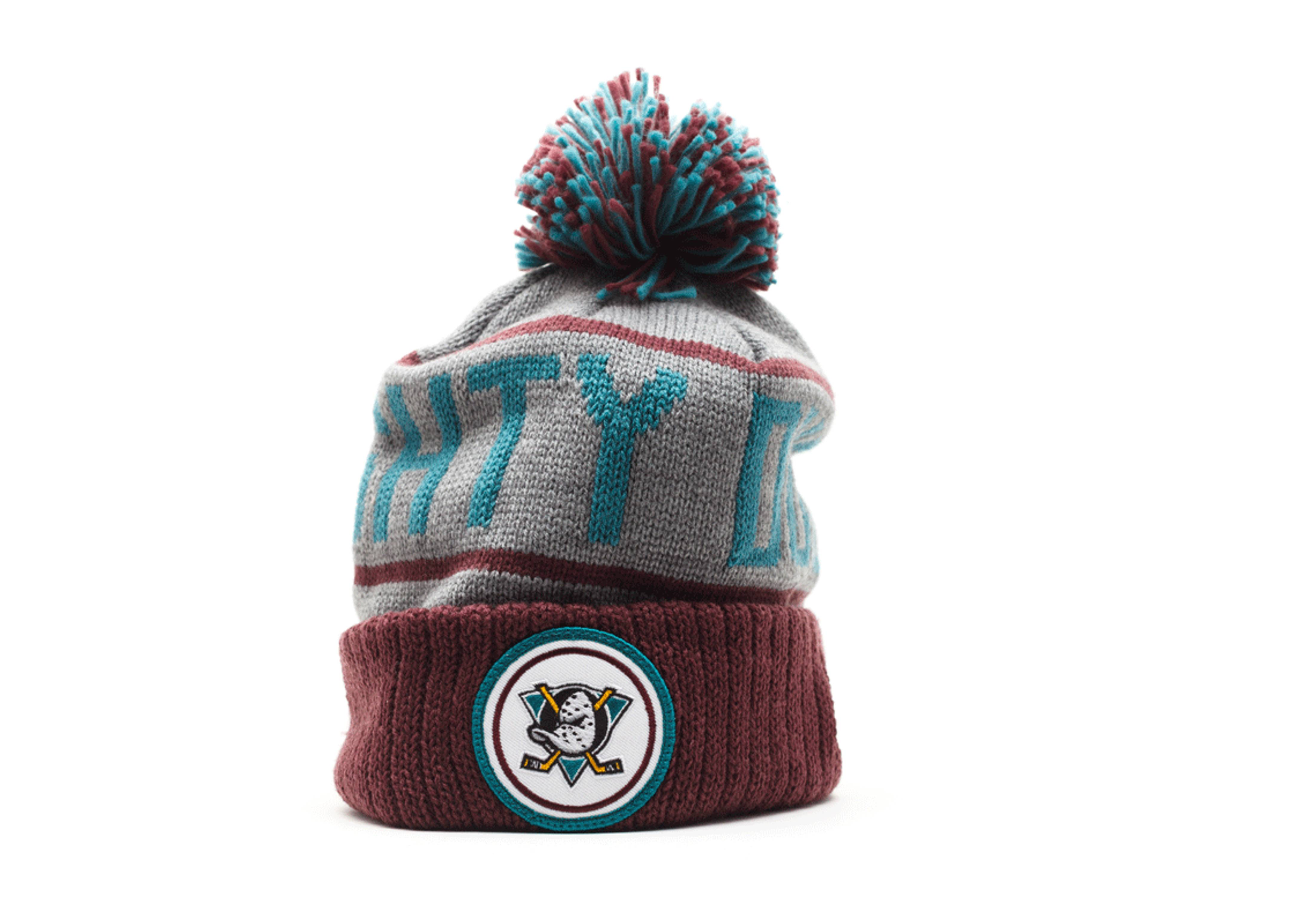 "anaheim mighty ducks cuffed pom knit beanie ""20th anniversary collection"""