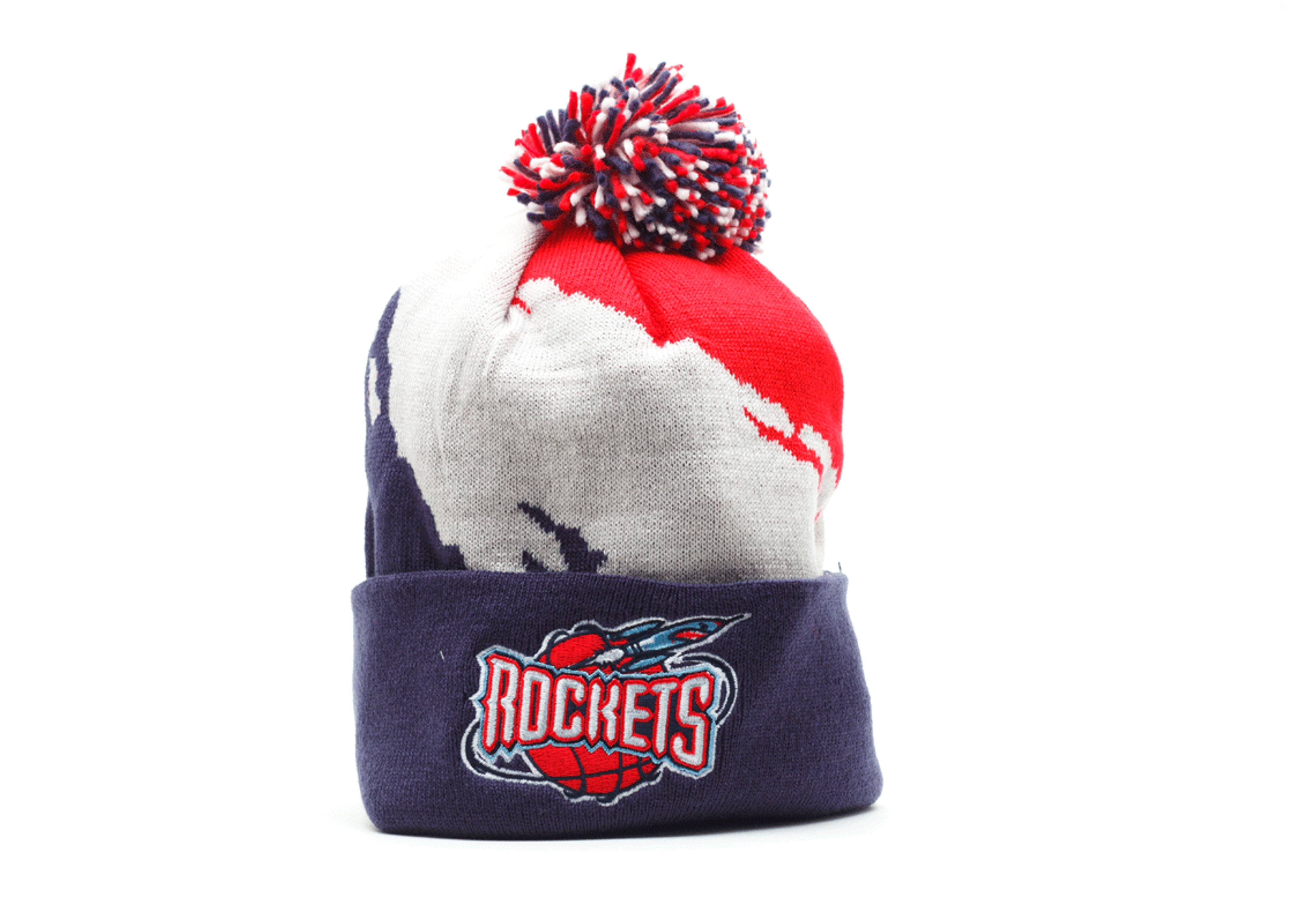 houston rockets cuffed pom knit beanie
