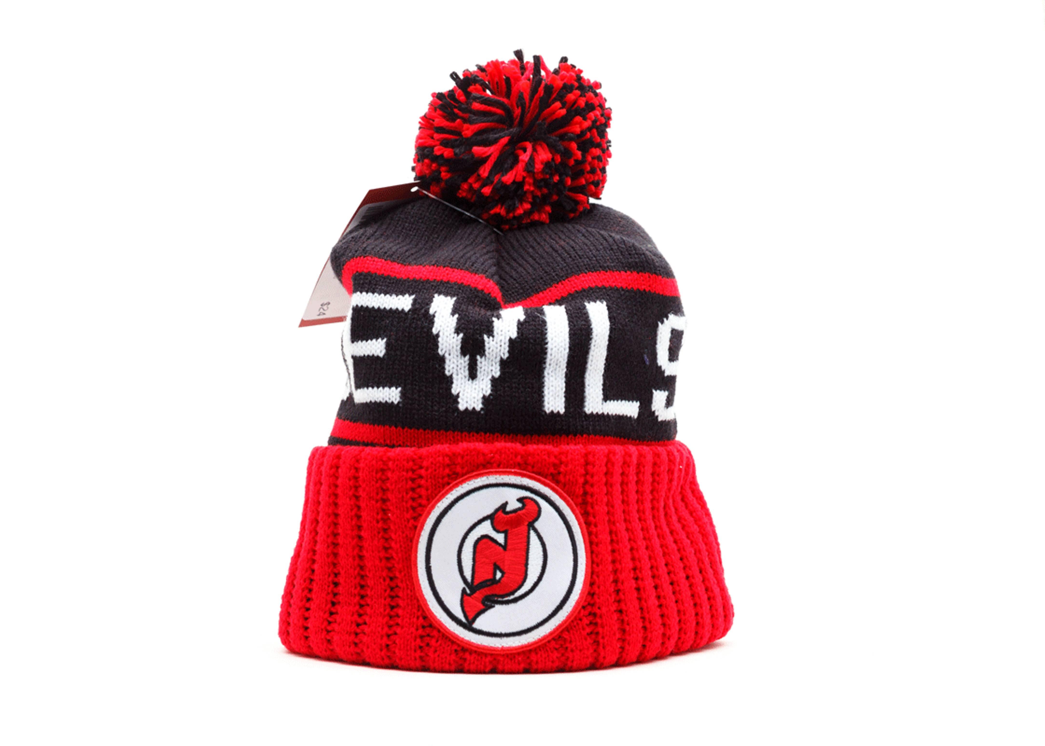 new jersey devils cuffed pom beanie