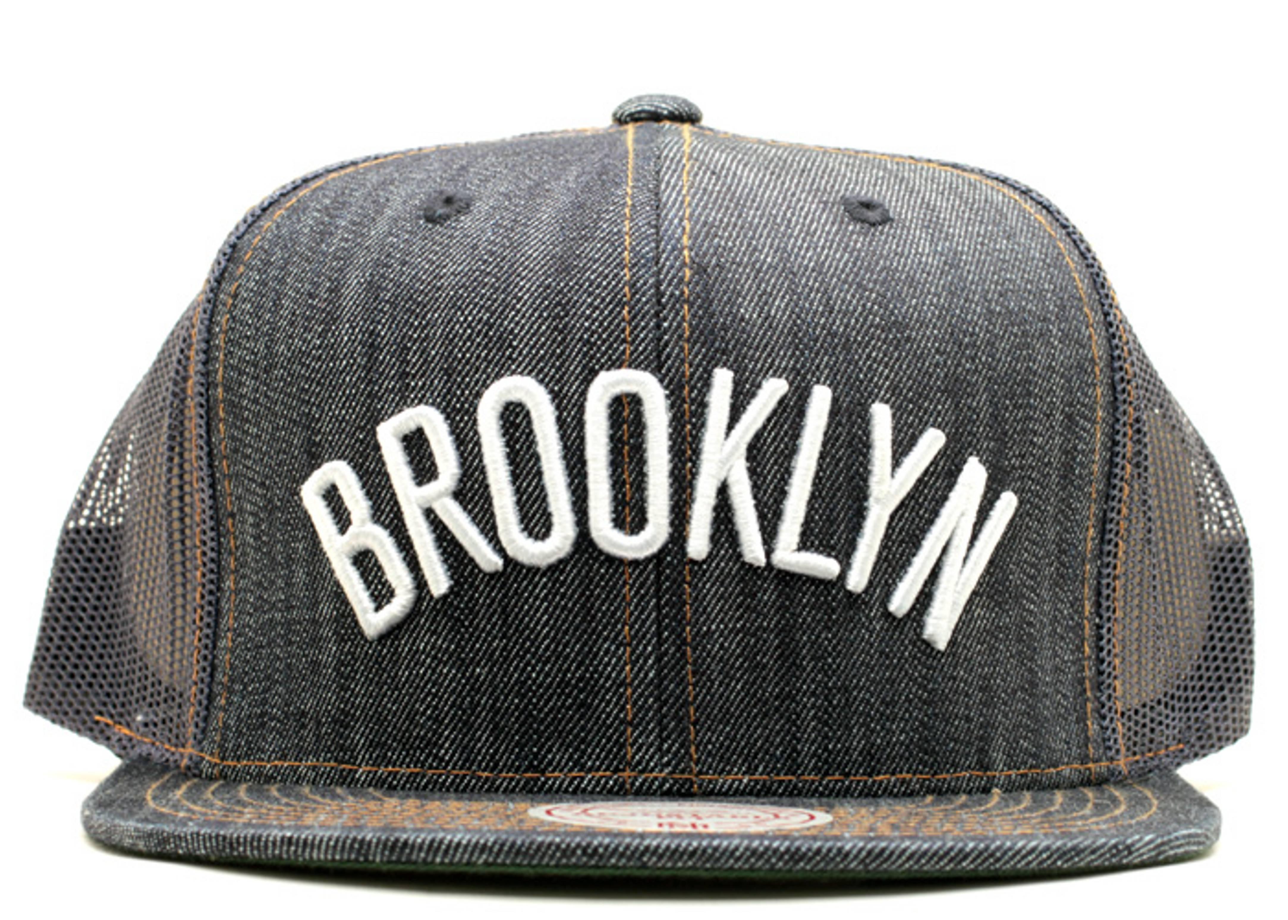 brooklyn nets denim trucker snap-back