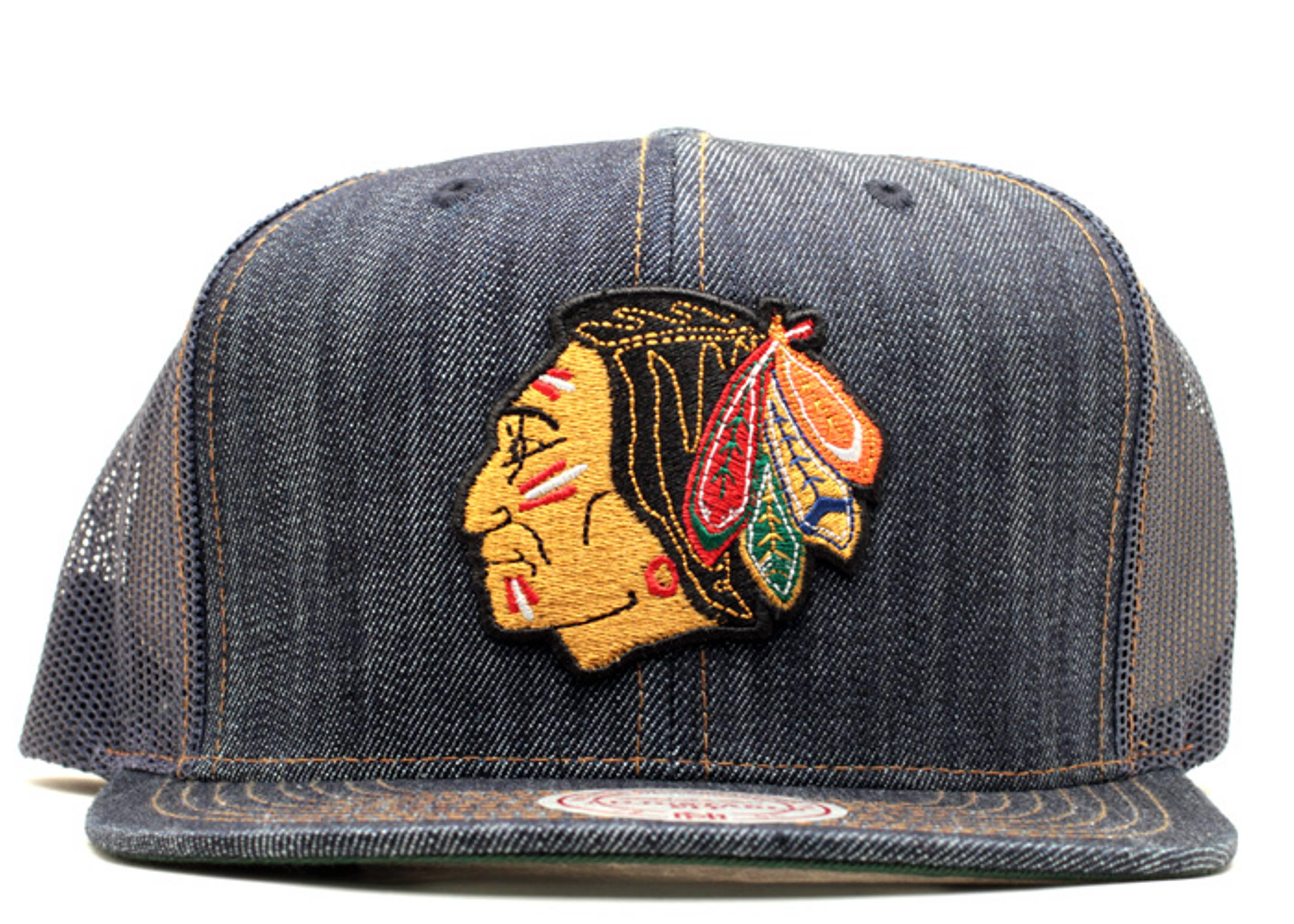 chicago blackhawks denim trucker snap-back