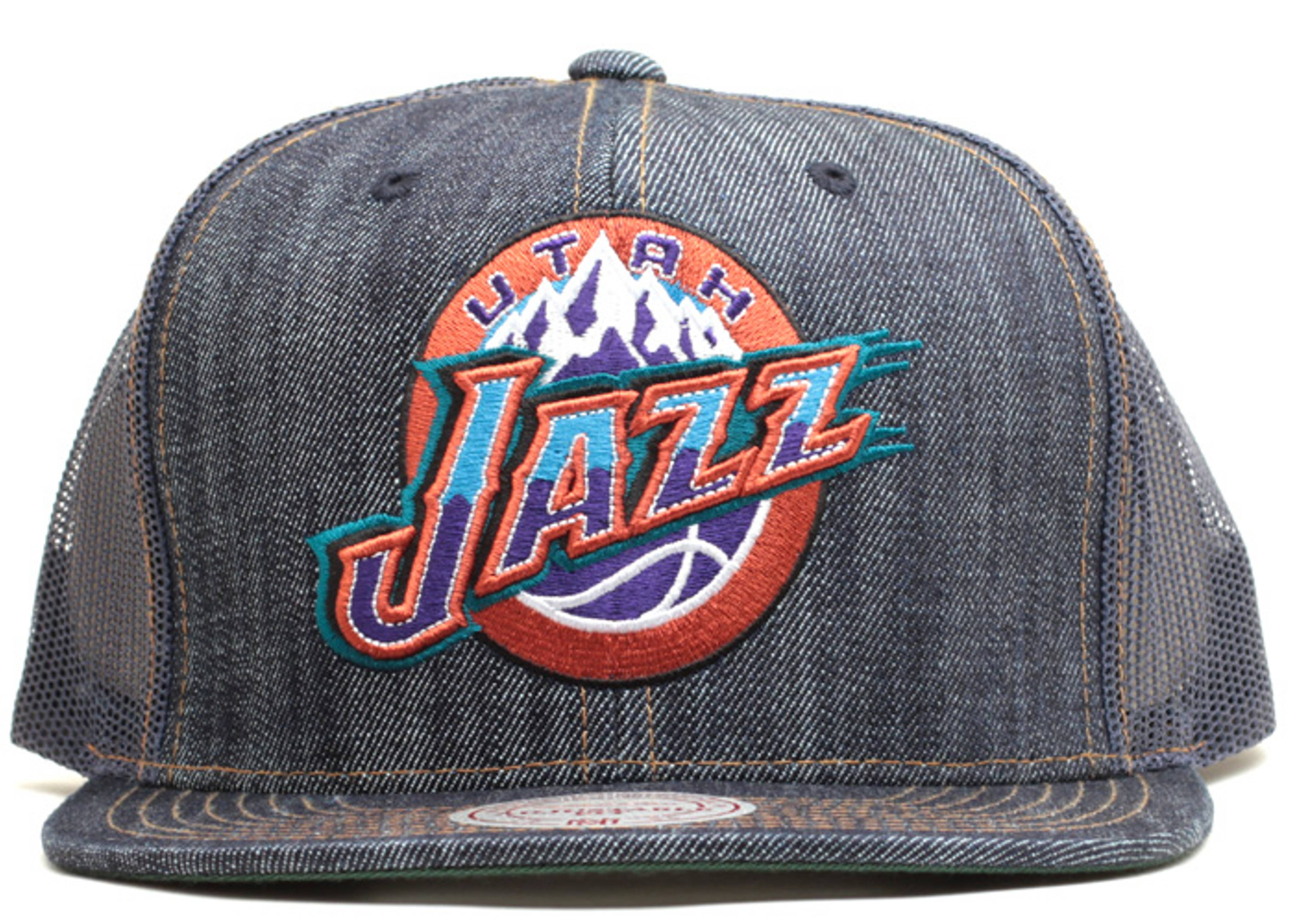 utah jazz denim trucker snap-back