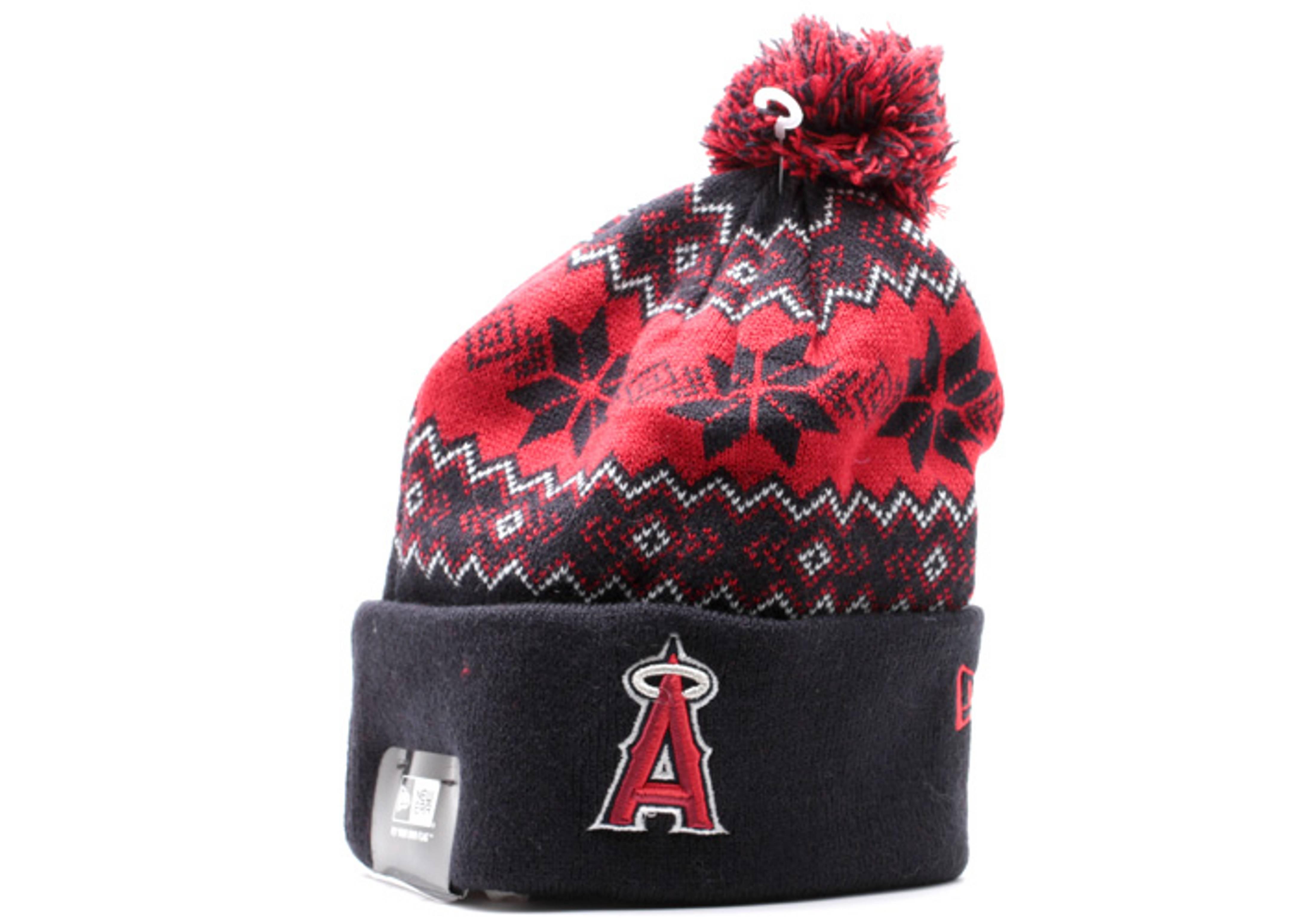 "anaheim angels cuffed pom knit beanie ""snowburst"""