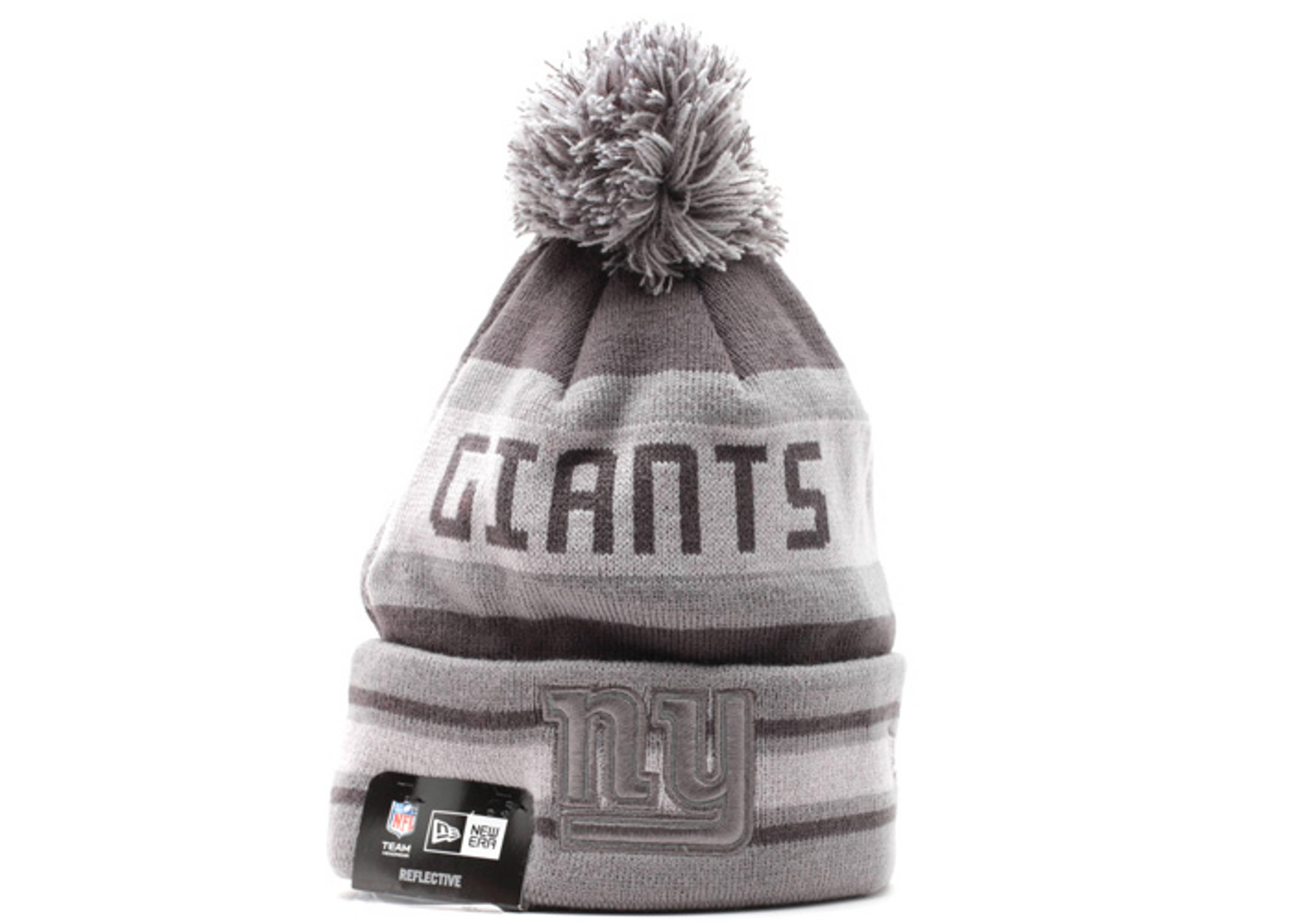 """new york giants cuffed pom knit beanie """"reflective"""""""