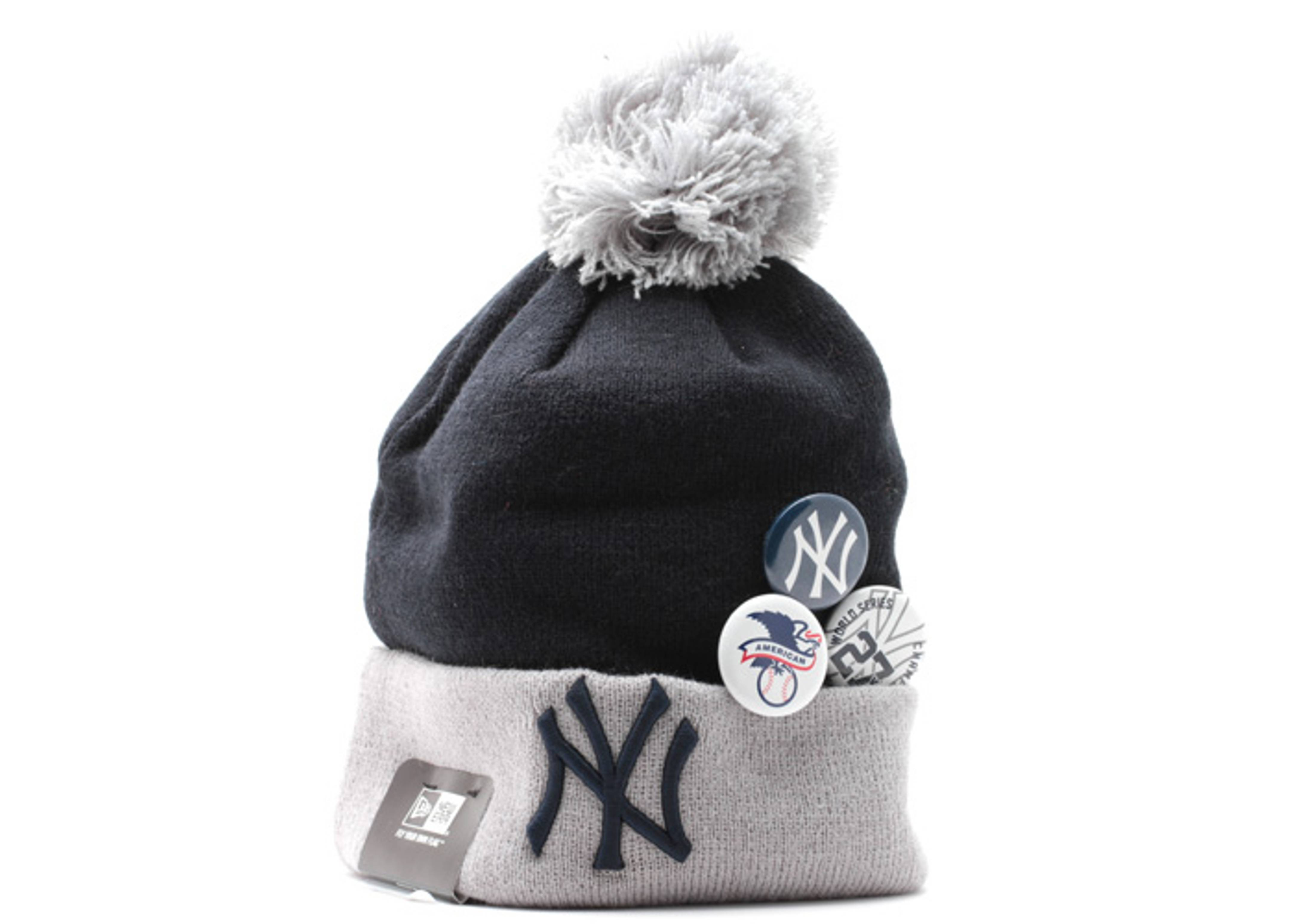 "new york yankees cuffed pom knit beanie ""status pin"""