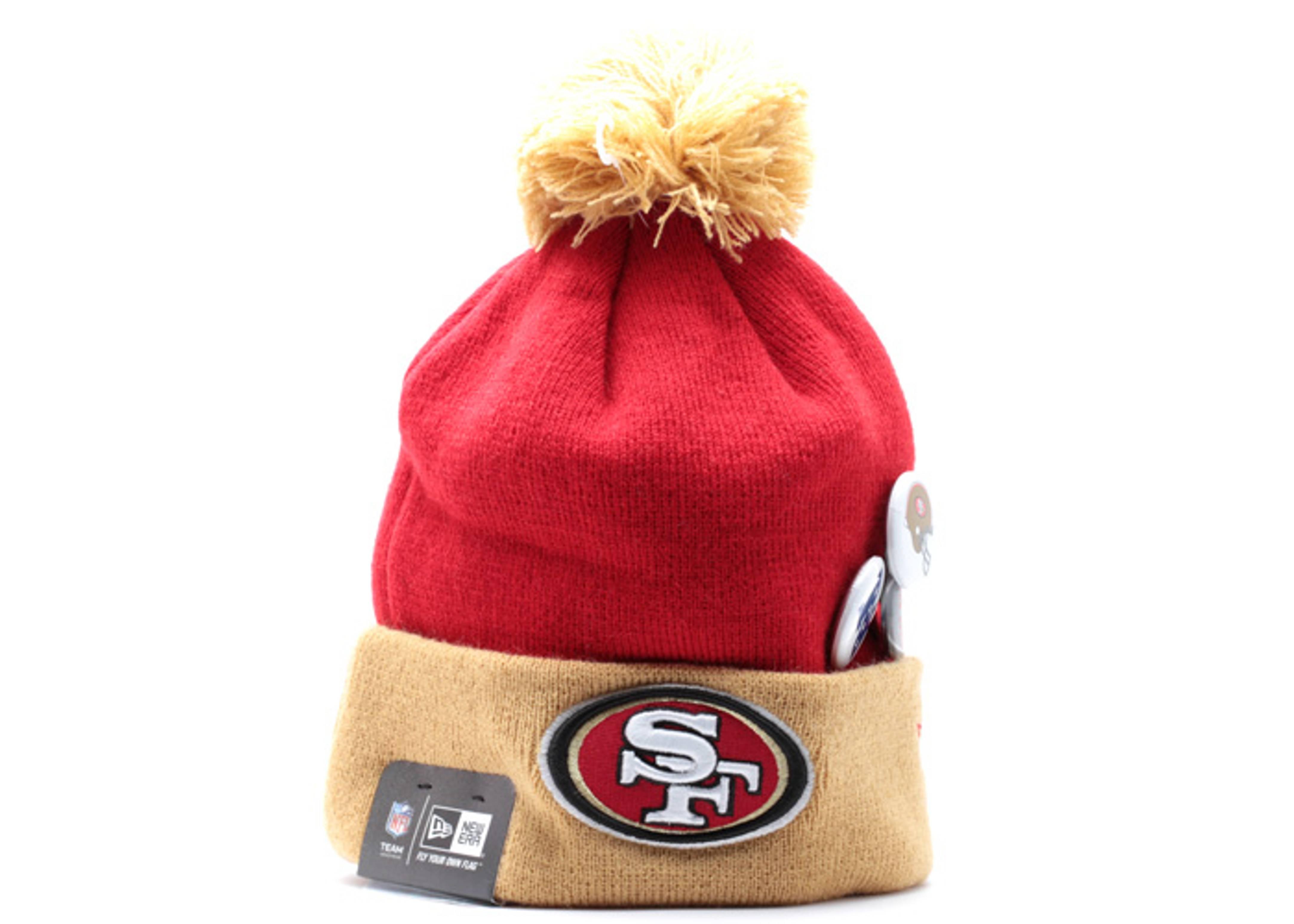 "san francisco 49ers cuffed opom knit beanie ""status pin"""