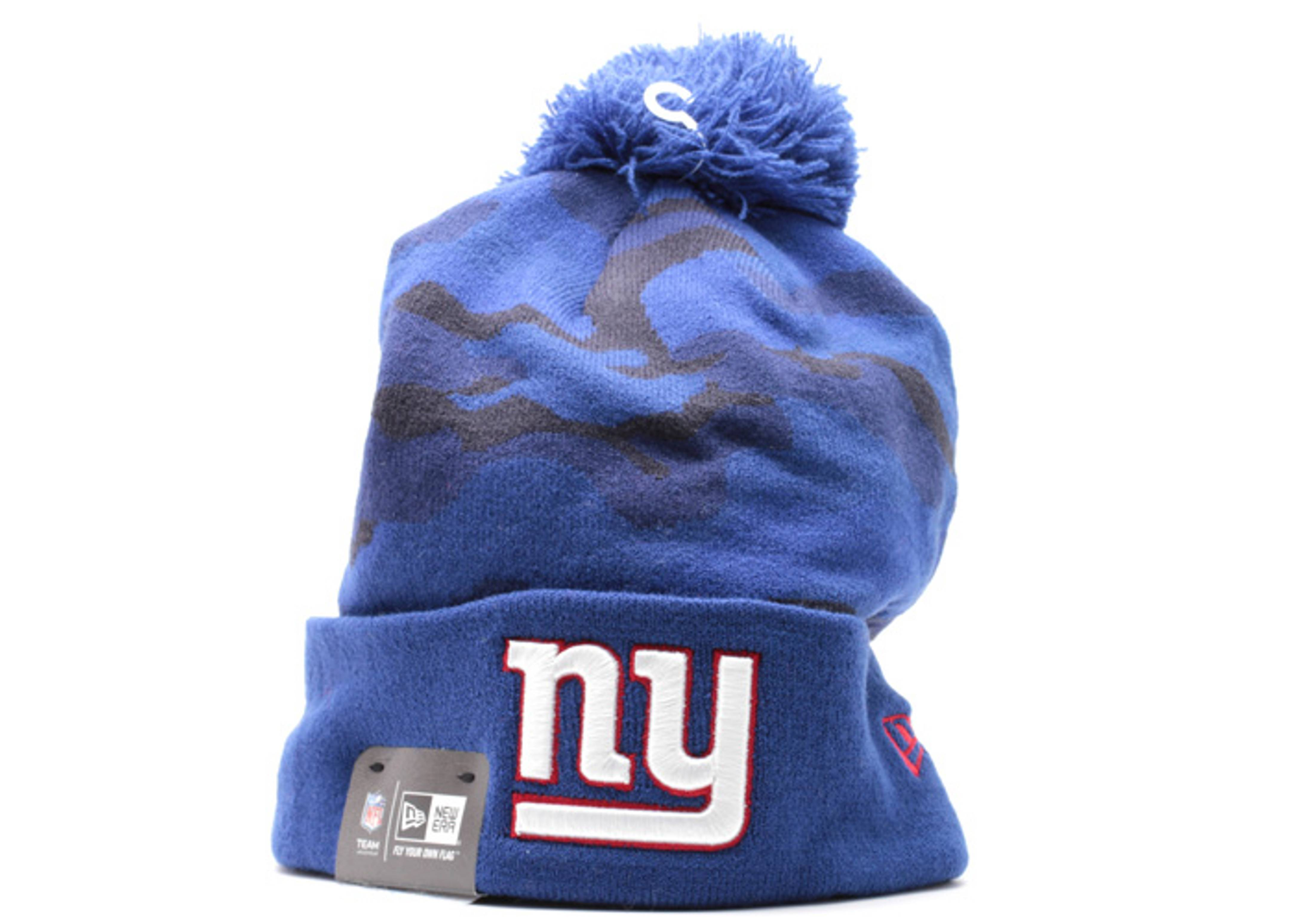 new york giants cuffed pom knit beanie
