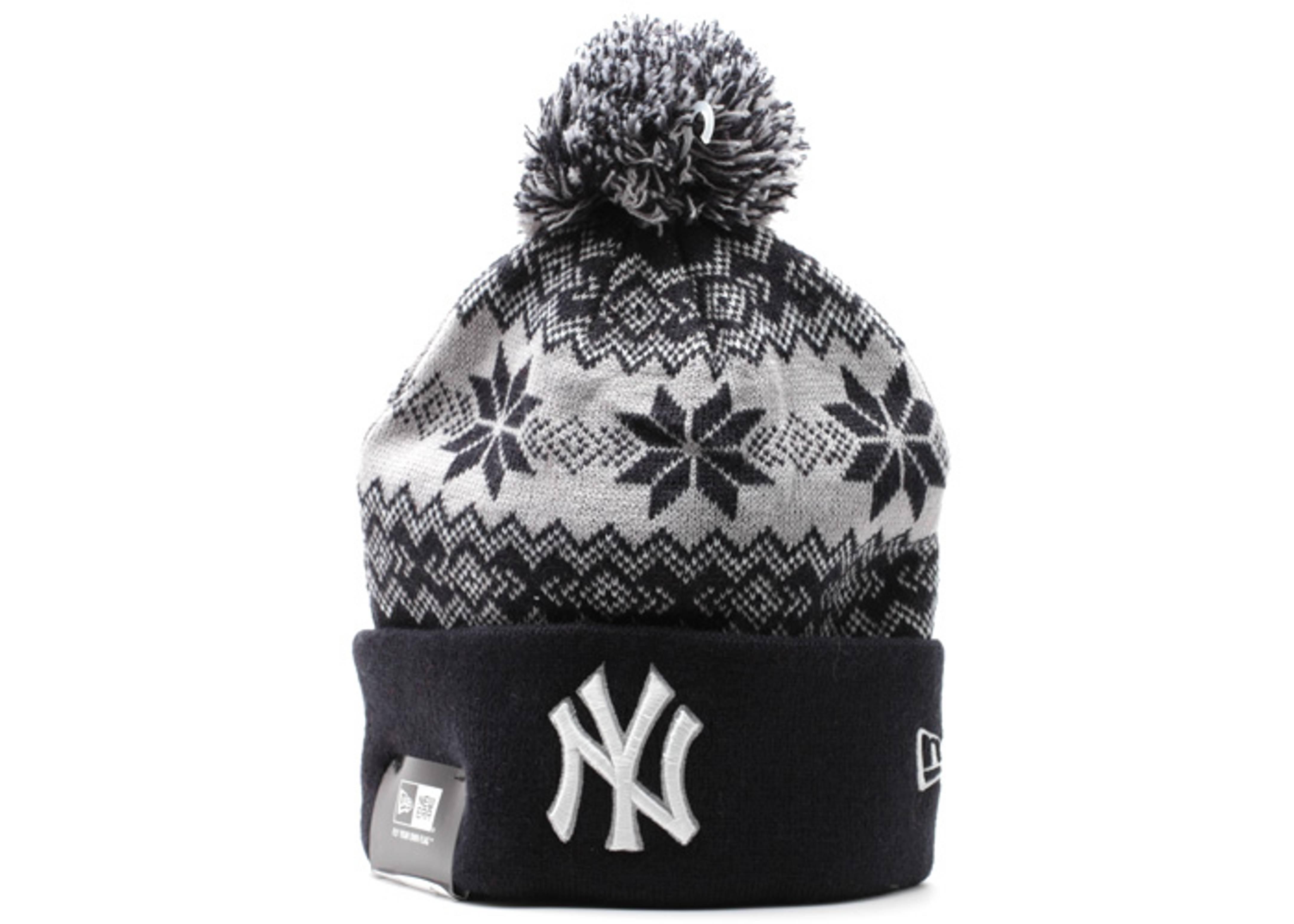 "new york yankees cuffed pom knit beanie ""snowburst"""