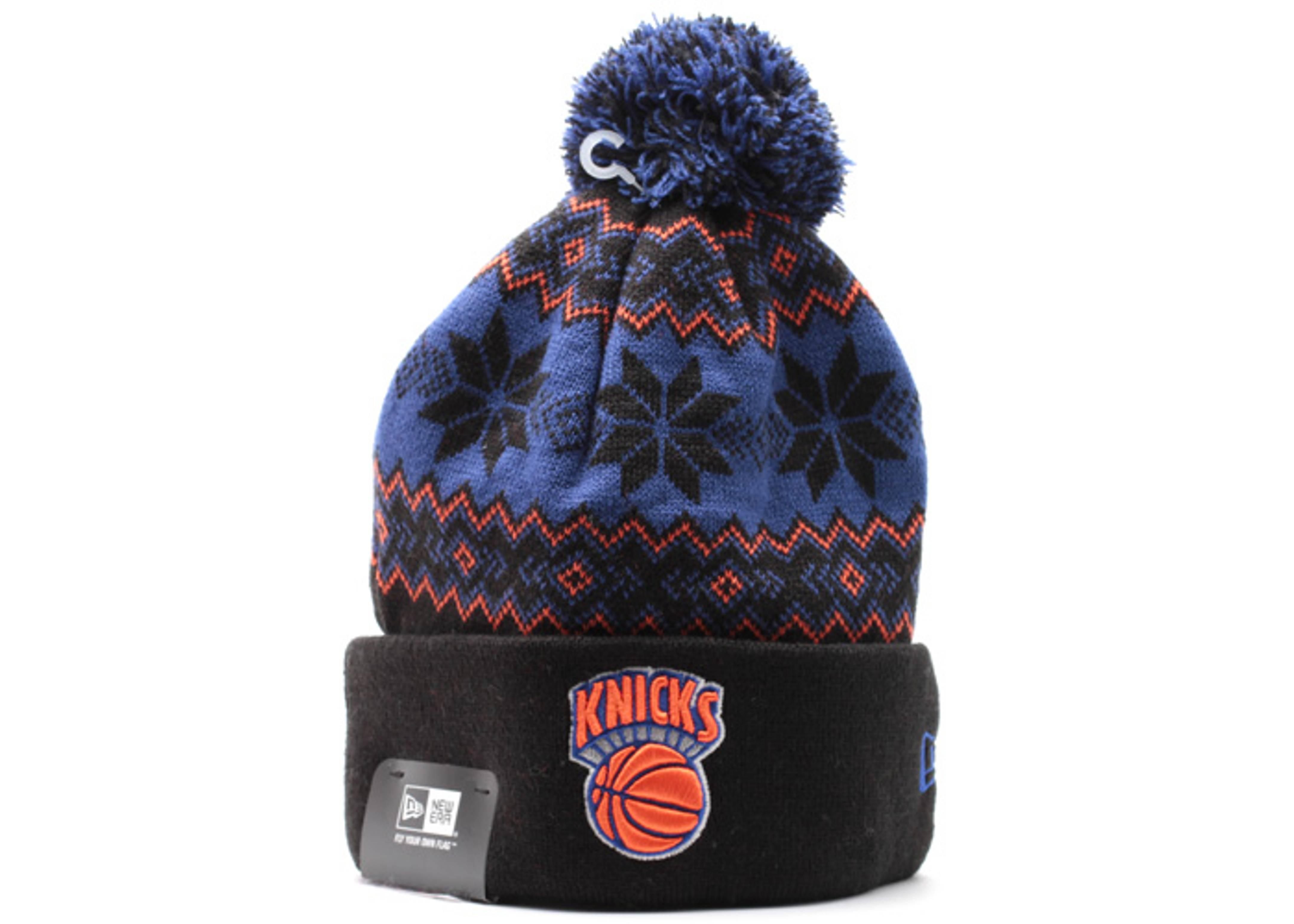 """new york knicks cuffed pom knit beanie """"snowburst"""""""