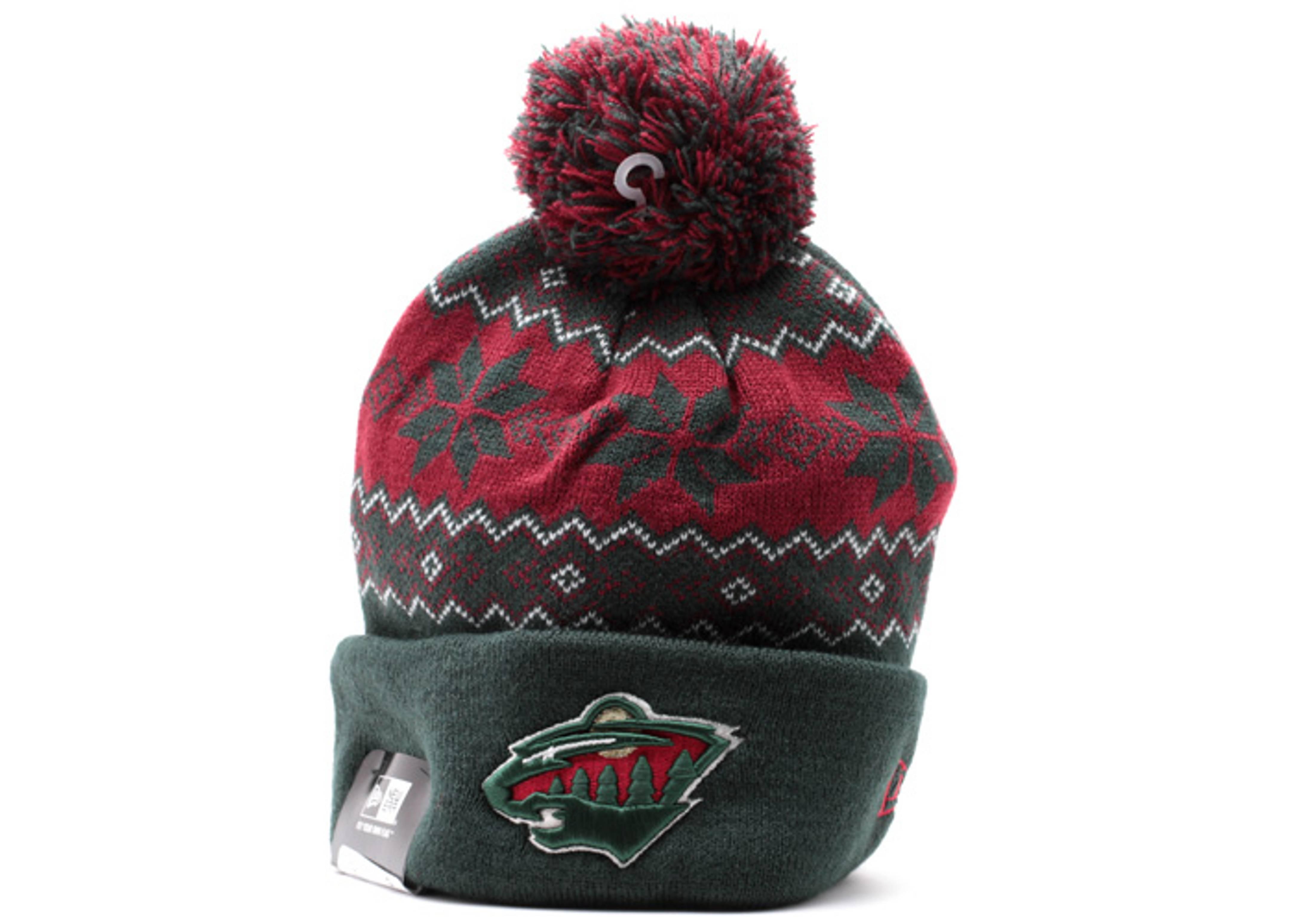 """minnesota wild cuffed pom knit beanie """"snowburst"""""""