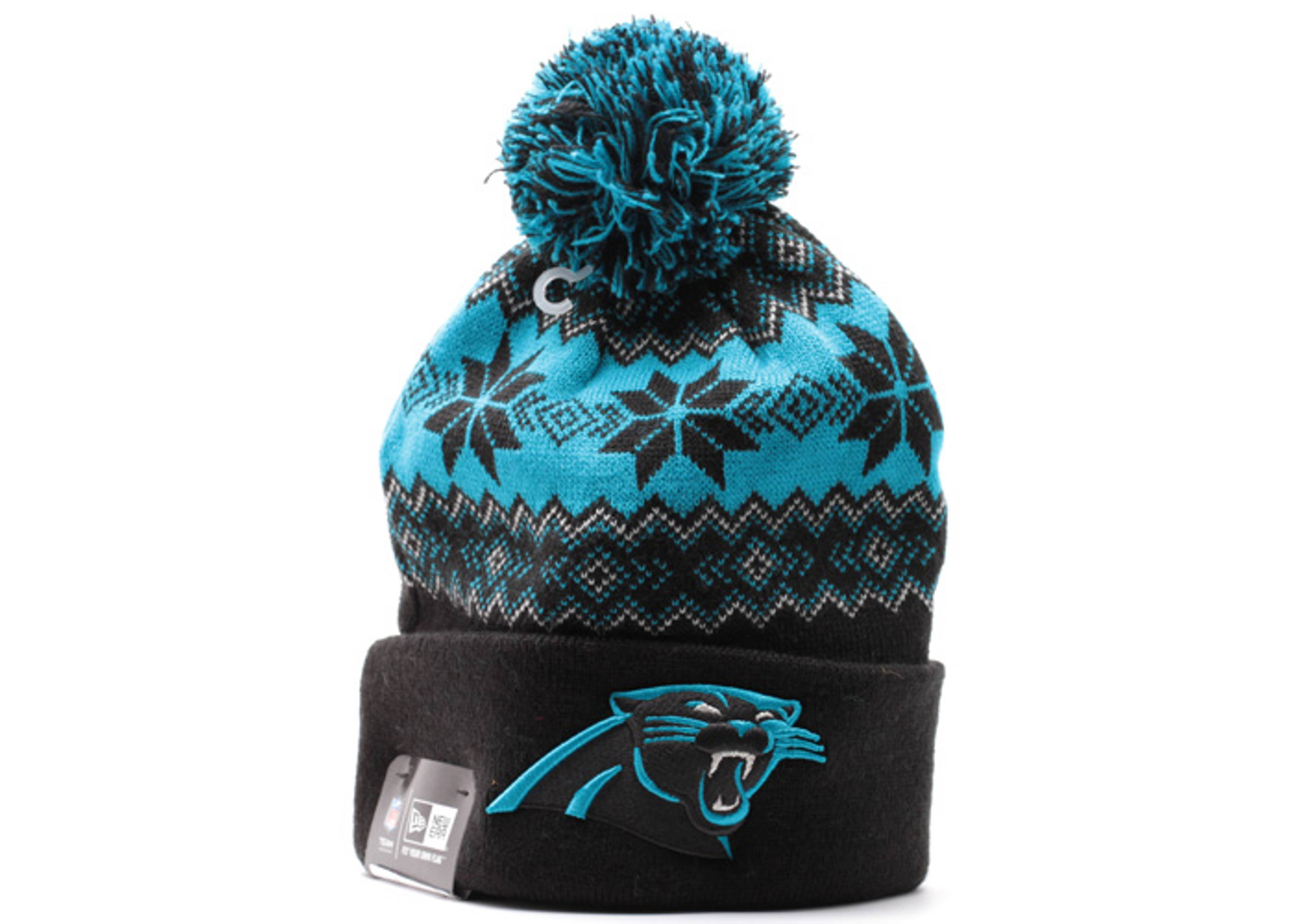 "carolina panthers cuffed pom knit beanie ""snowburst"""
