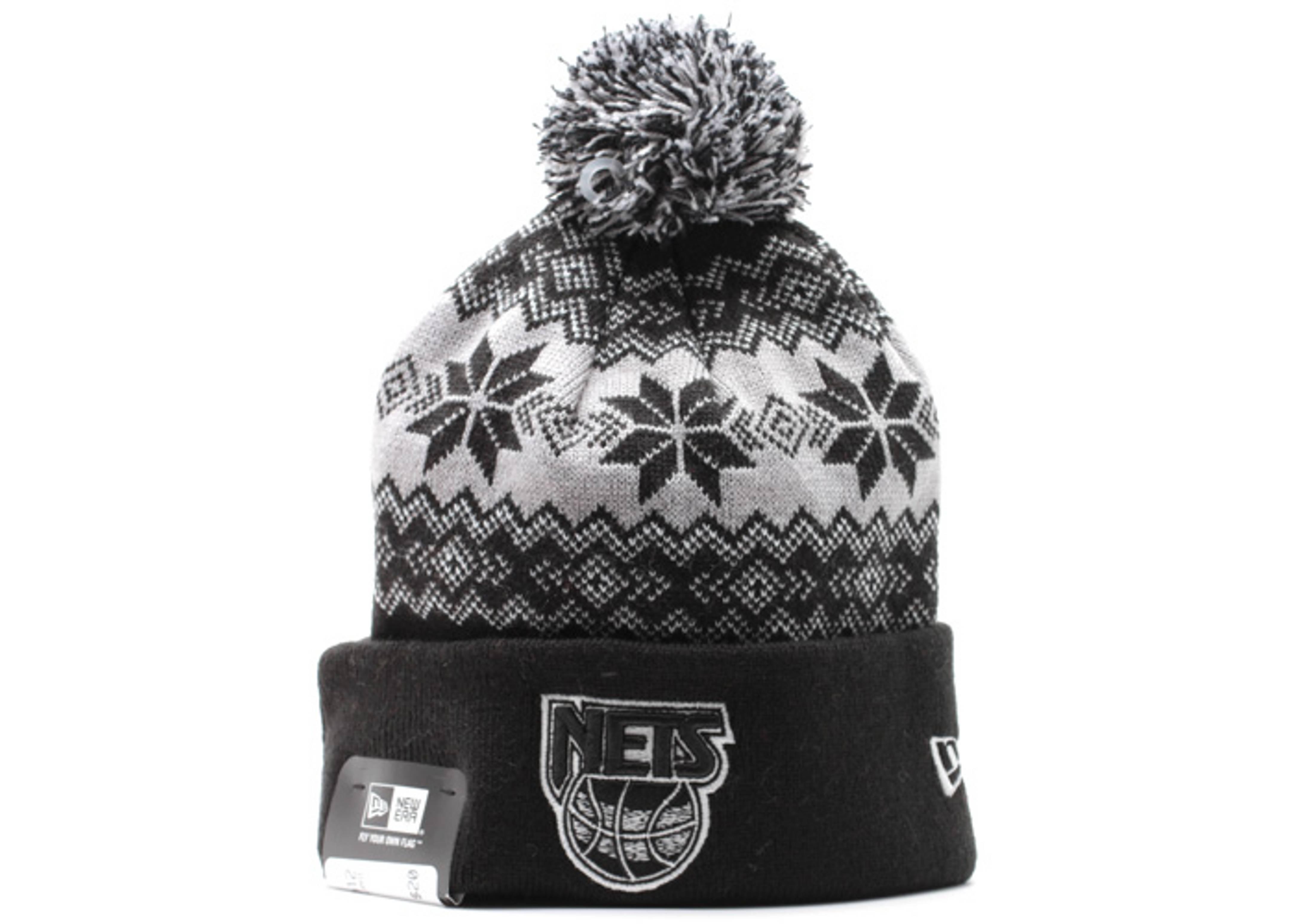 """new jersey nets cuffed pom knit beanie """"snowburst"""""""