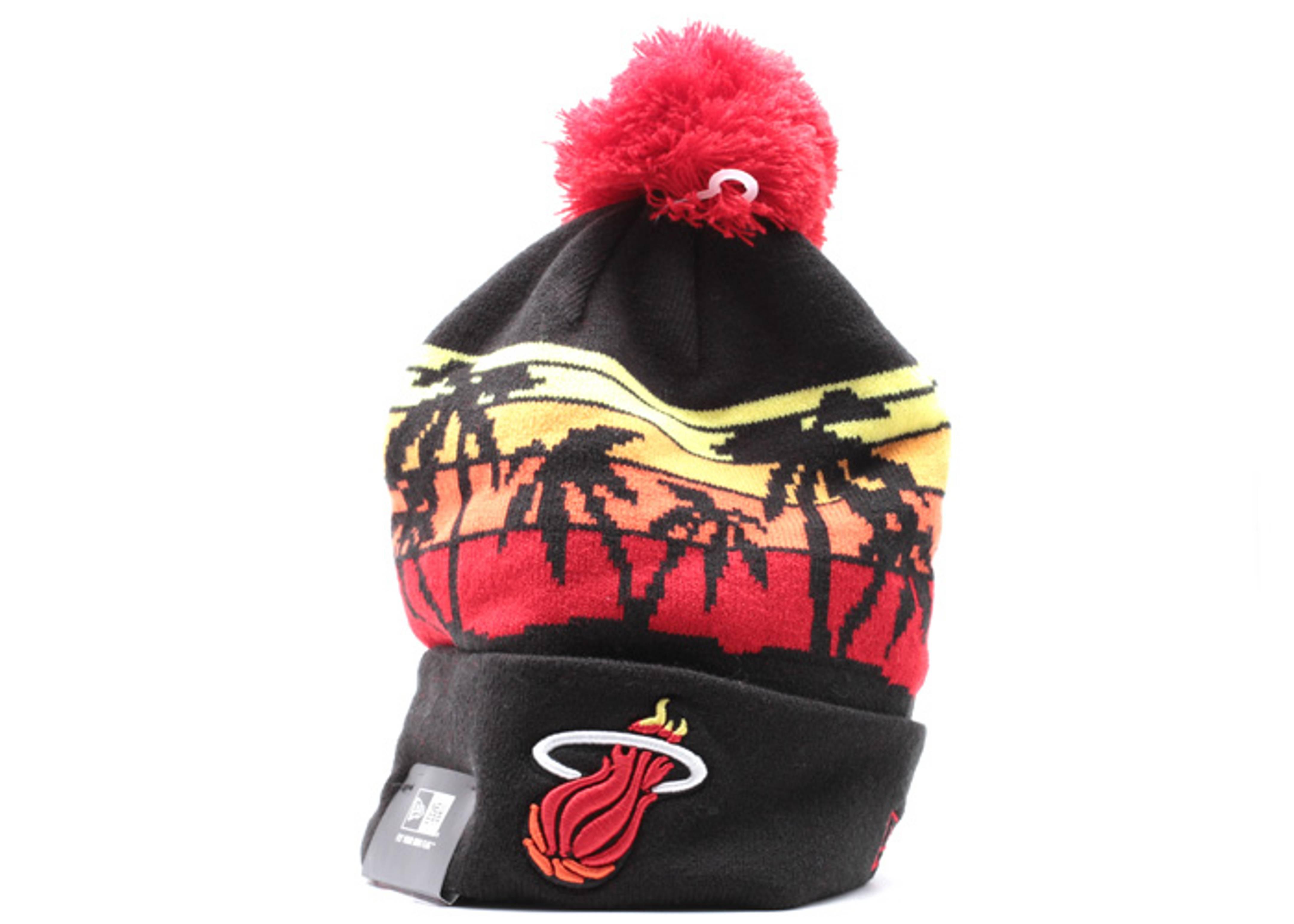 "miami heat cuffed pom knit beanie ""winter tide"""