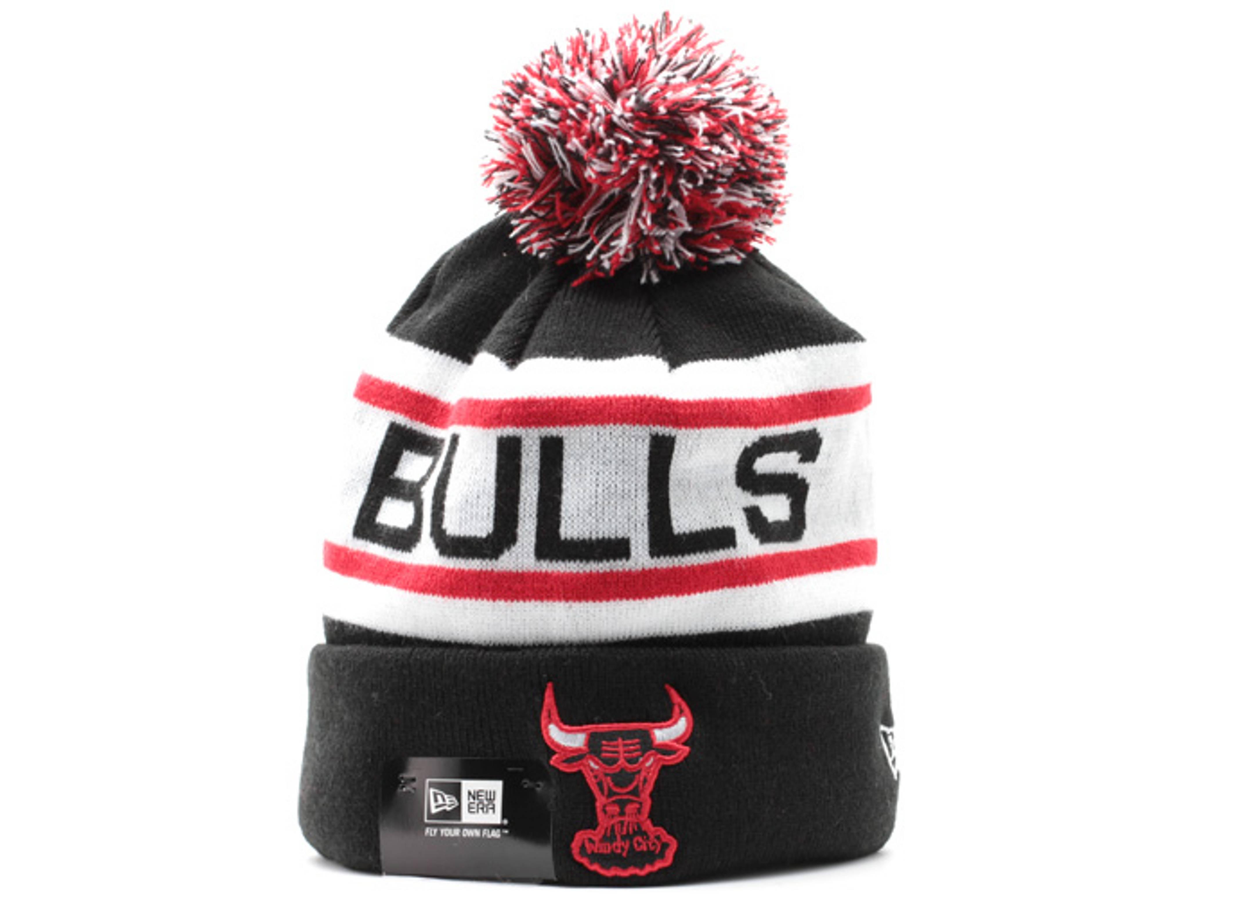 chicago bulls cuffed pom knit beanie