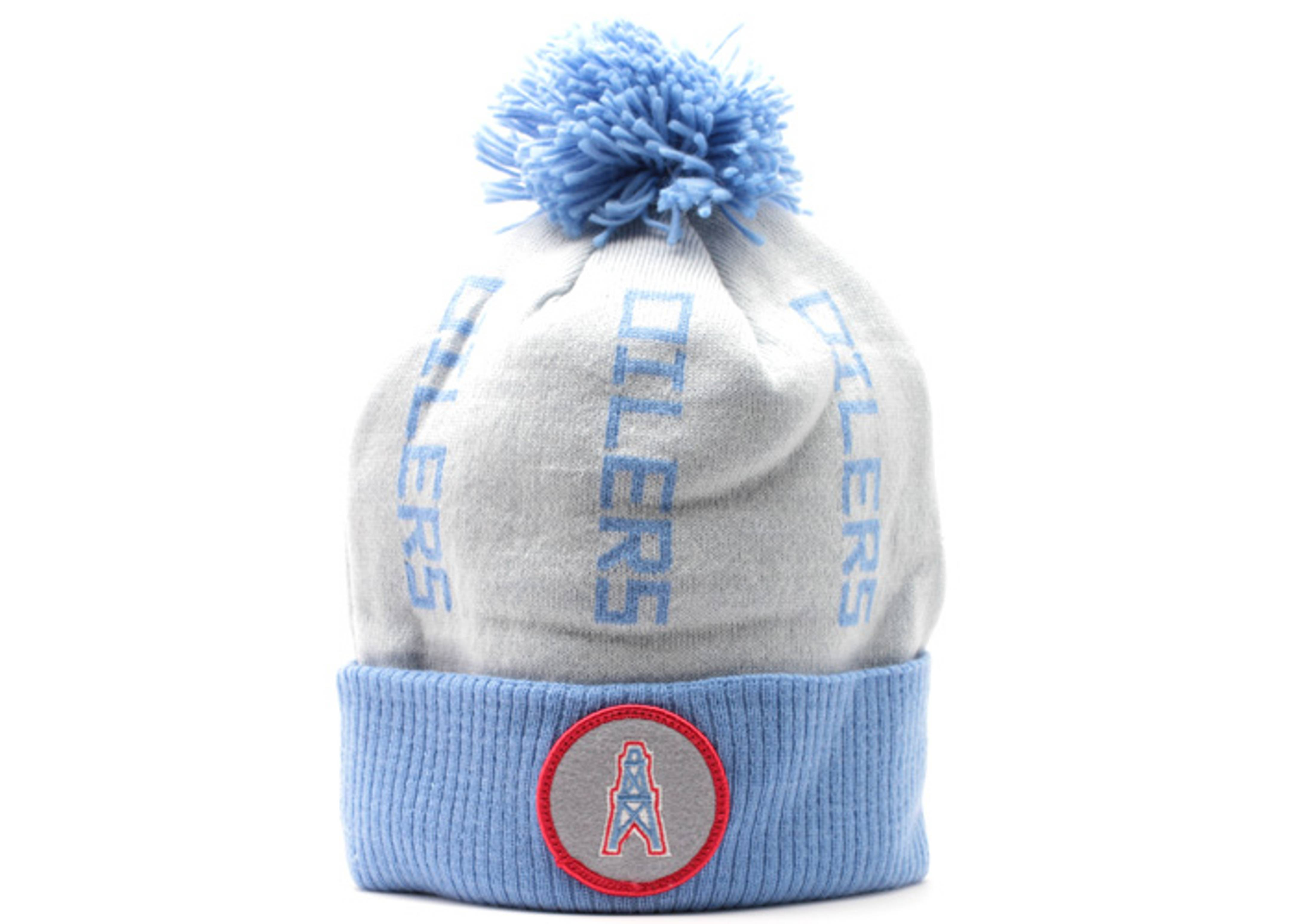 f3ecf62dcce Houston Oilers Cuffed Pom Knit Beanie - Mitchell   Ness - kn71mtc6oiler -  grey light blue