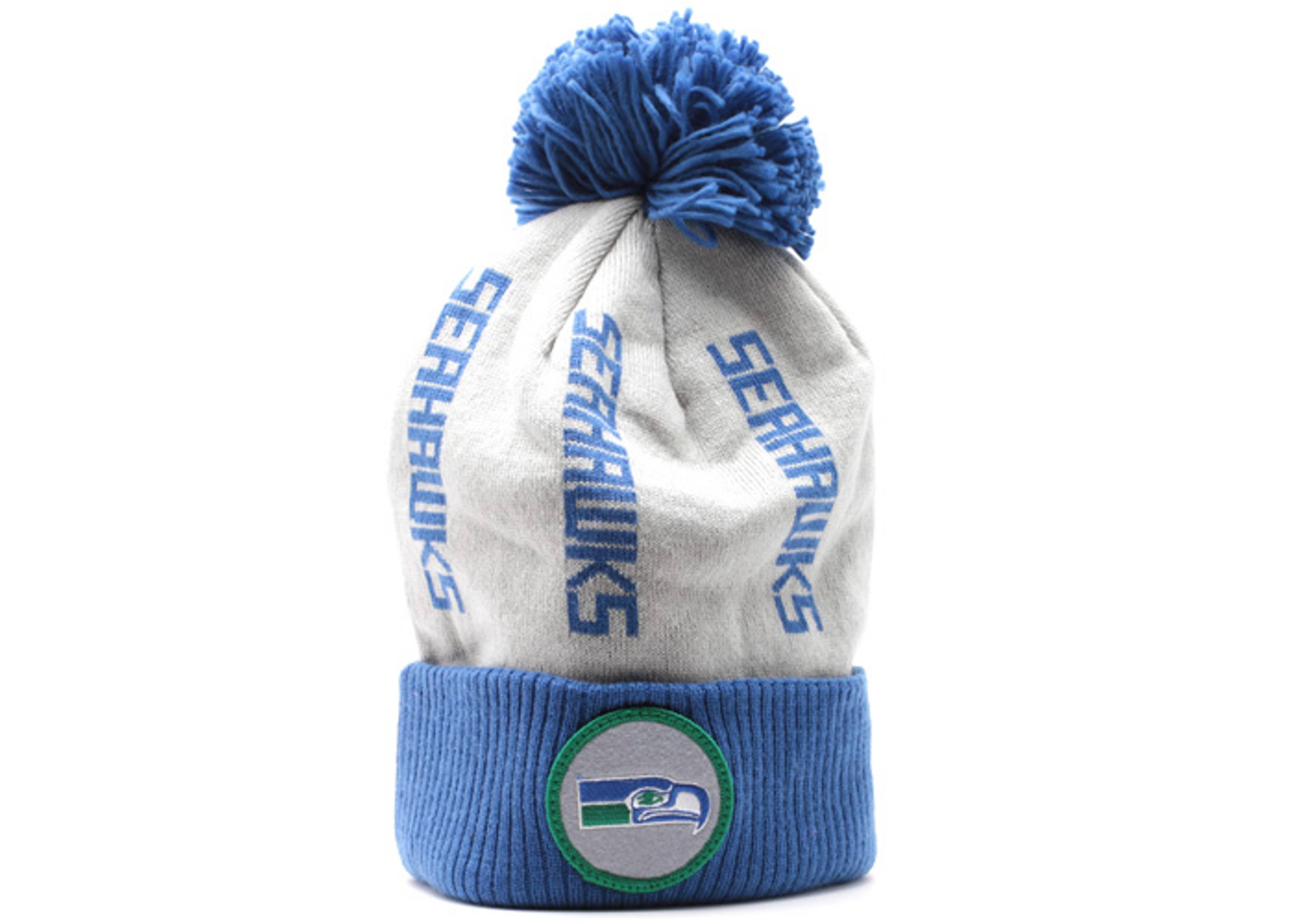 seattle seahawks cuffedpom knit beanie