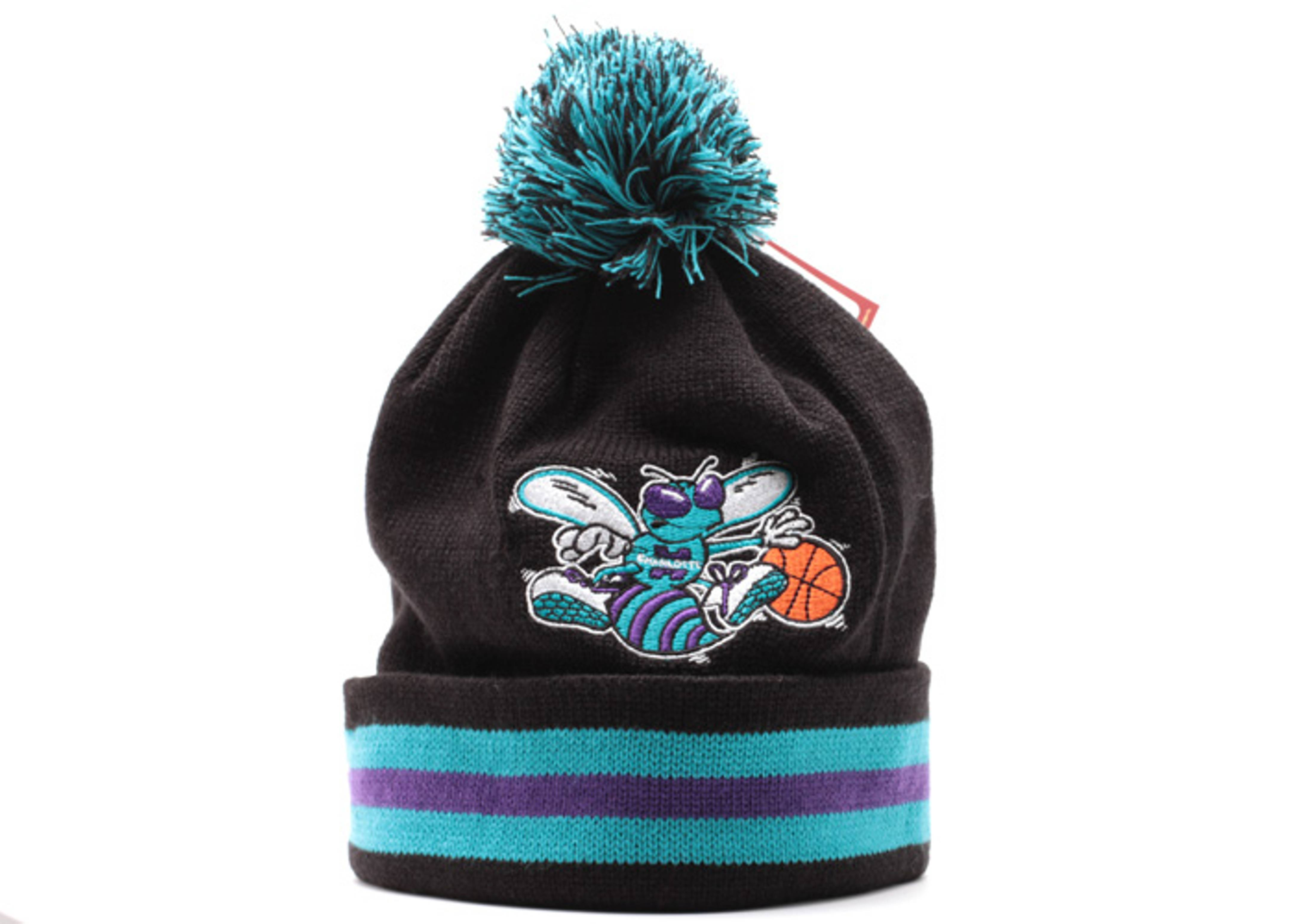charolette hornets cuffed pom knit beanie