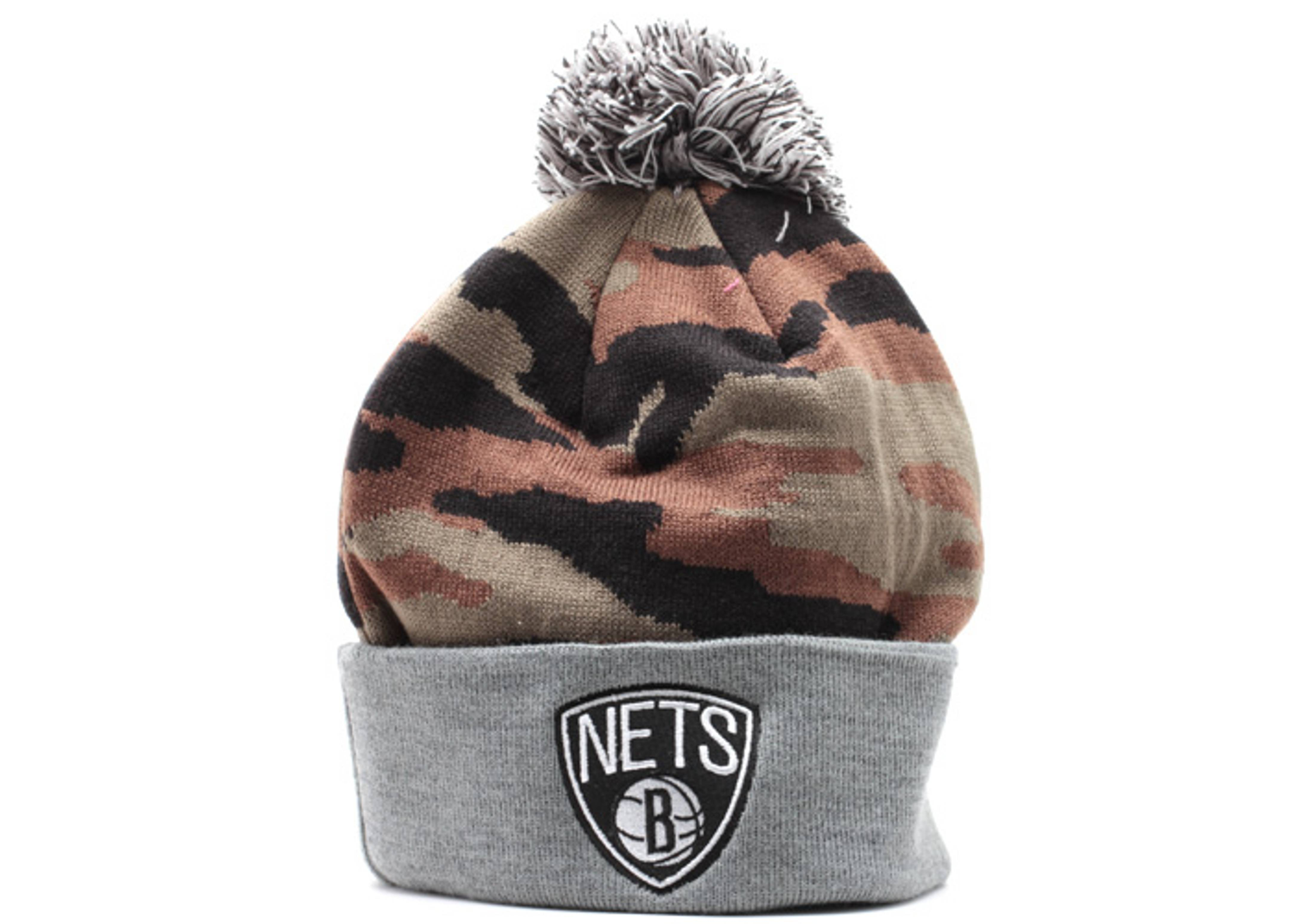 f9d6b0b34ef brooklyn nets cuffed pom knit beanie camo black gray