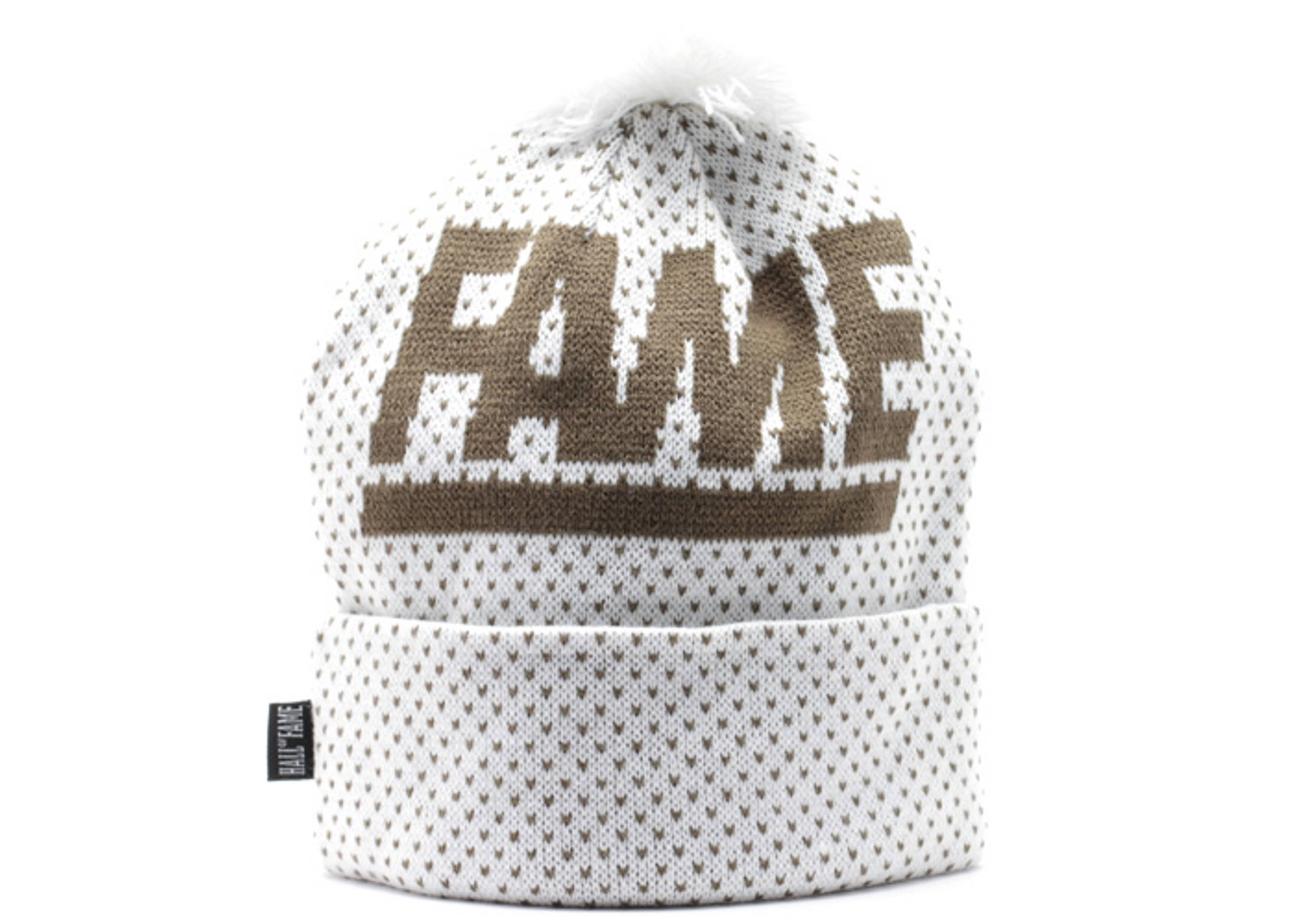 fame block cuffed pom knit beanie