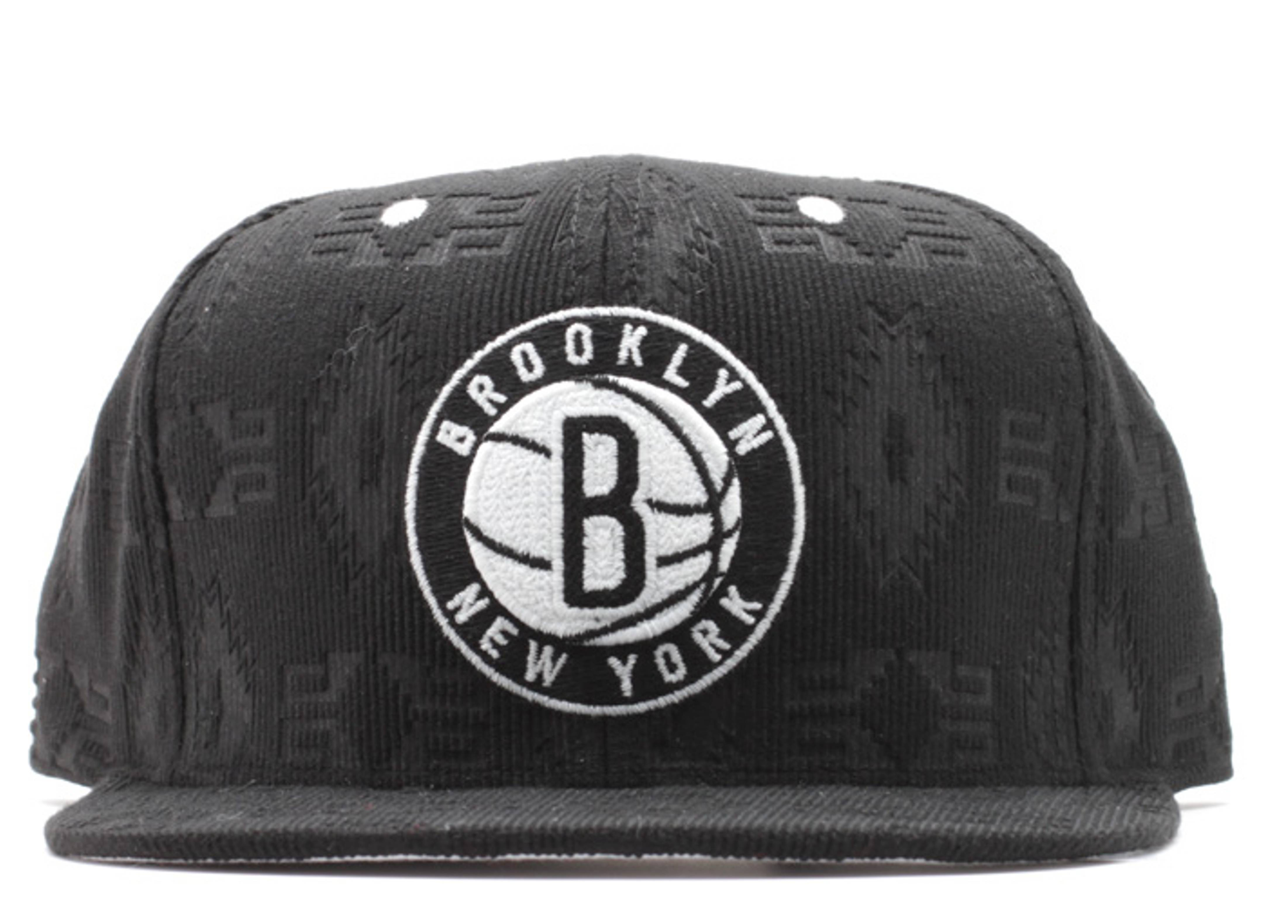 brooklyn nets debossed corduroy strap-back