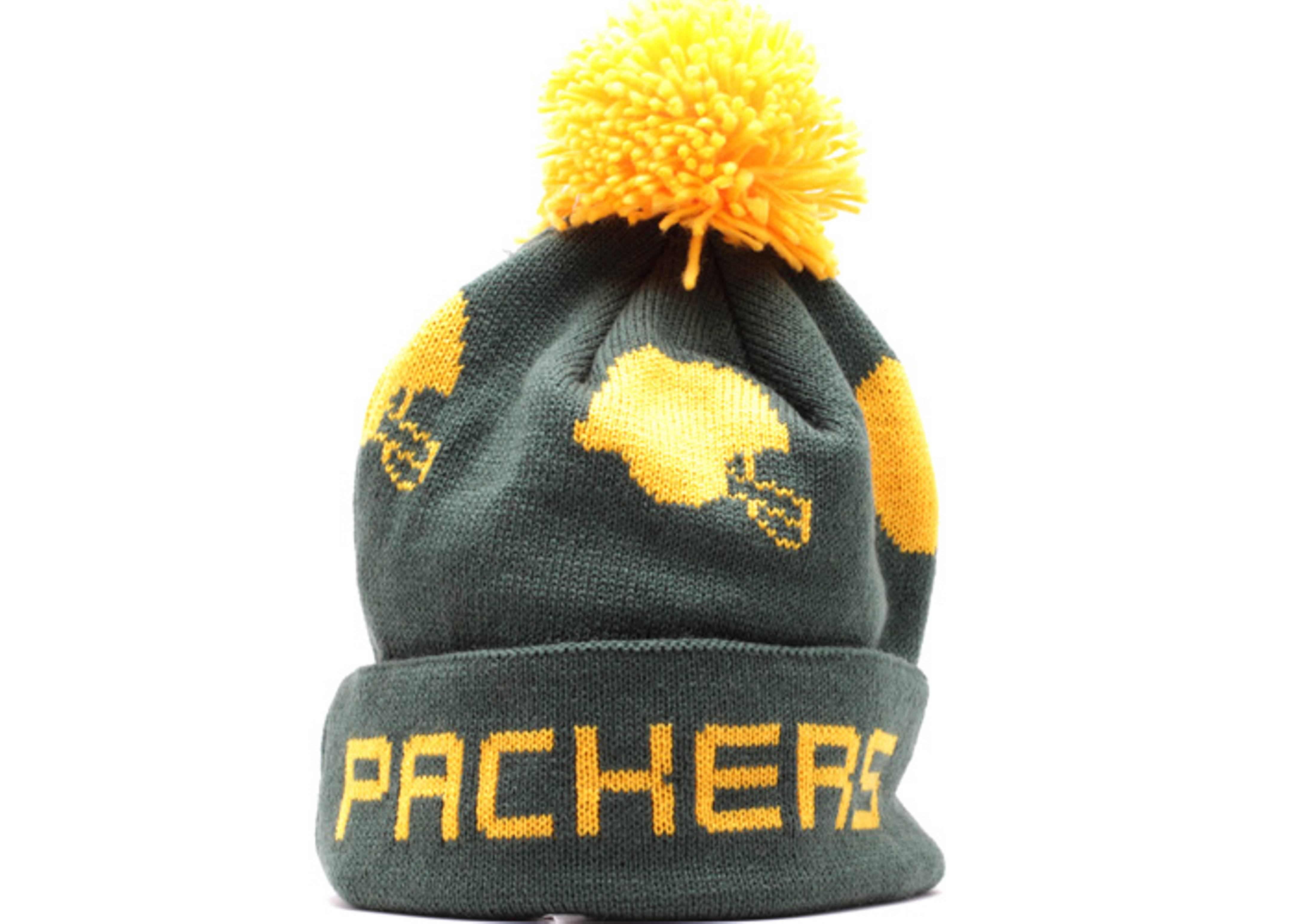 "green bay packers cuffed pom knit beanie ""helmets"""