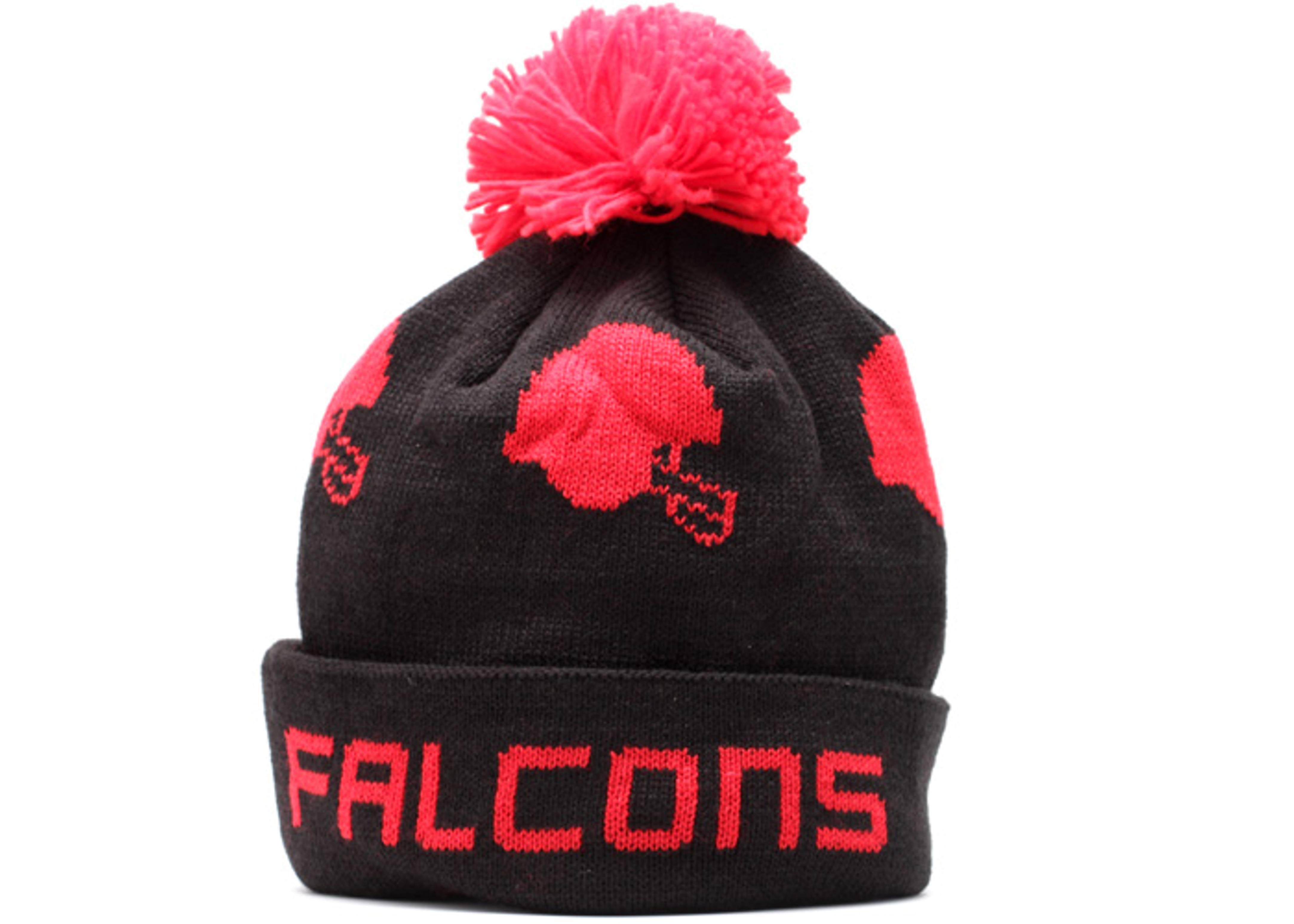 "atlanta falcons cuffed pom knit beanie ""helmets"""