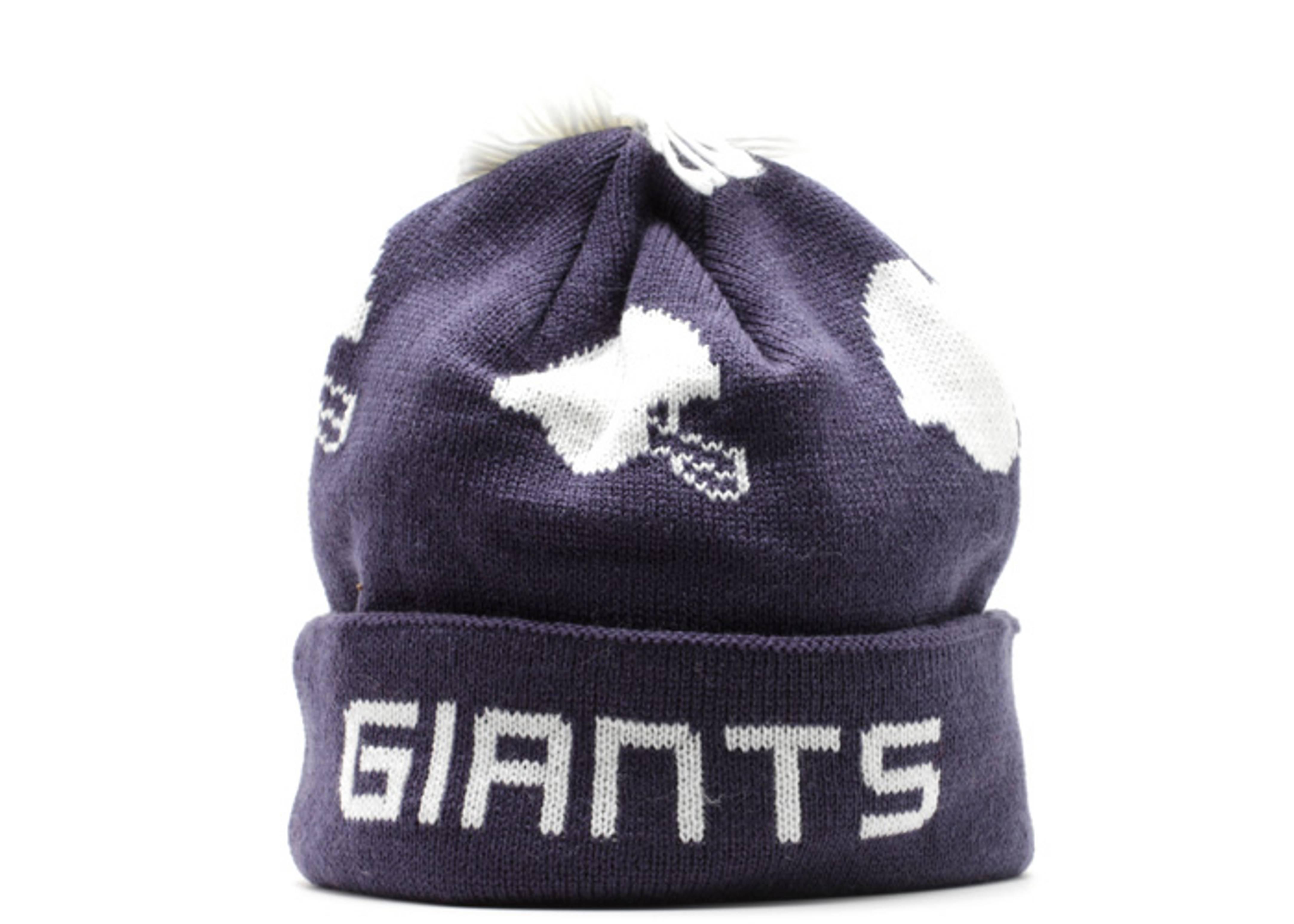 """new york giants cuffed pom knit beanie """"helmets"""""""