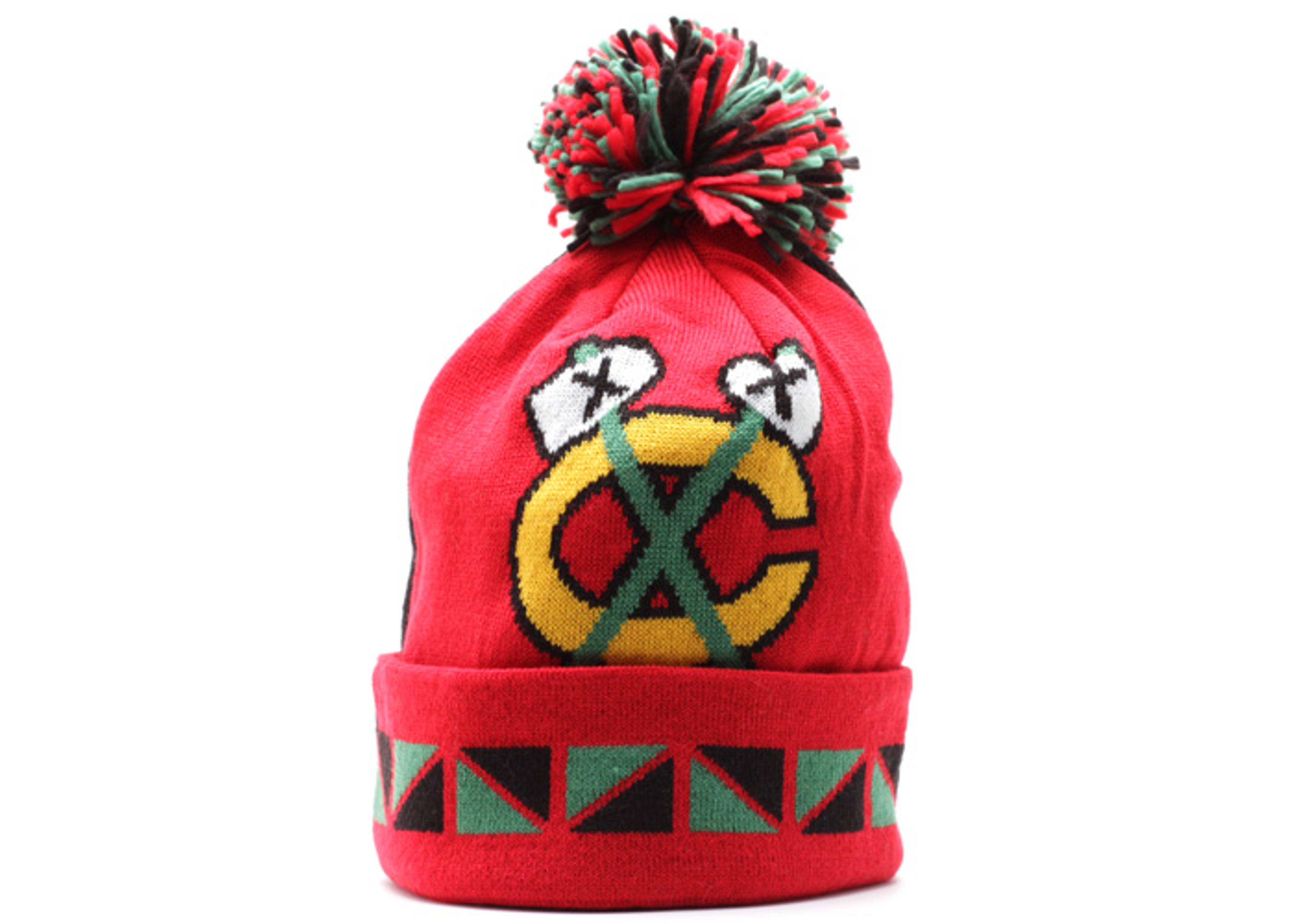 chicago blackhawks cuffed pom knit beanie