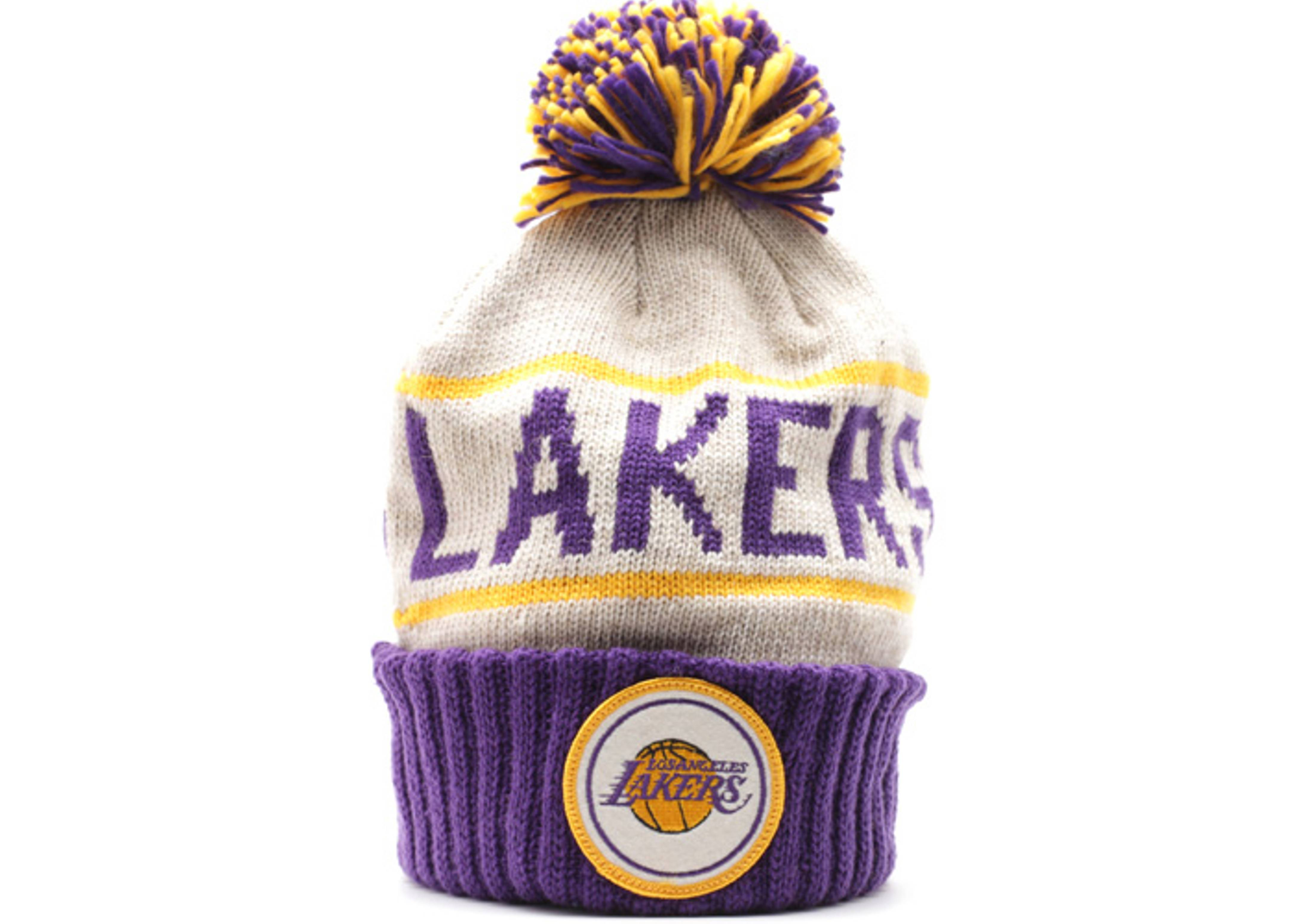 los angeles lakers cuffed pom knit beanie