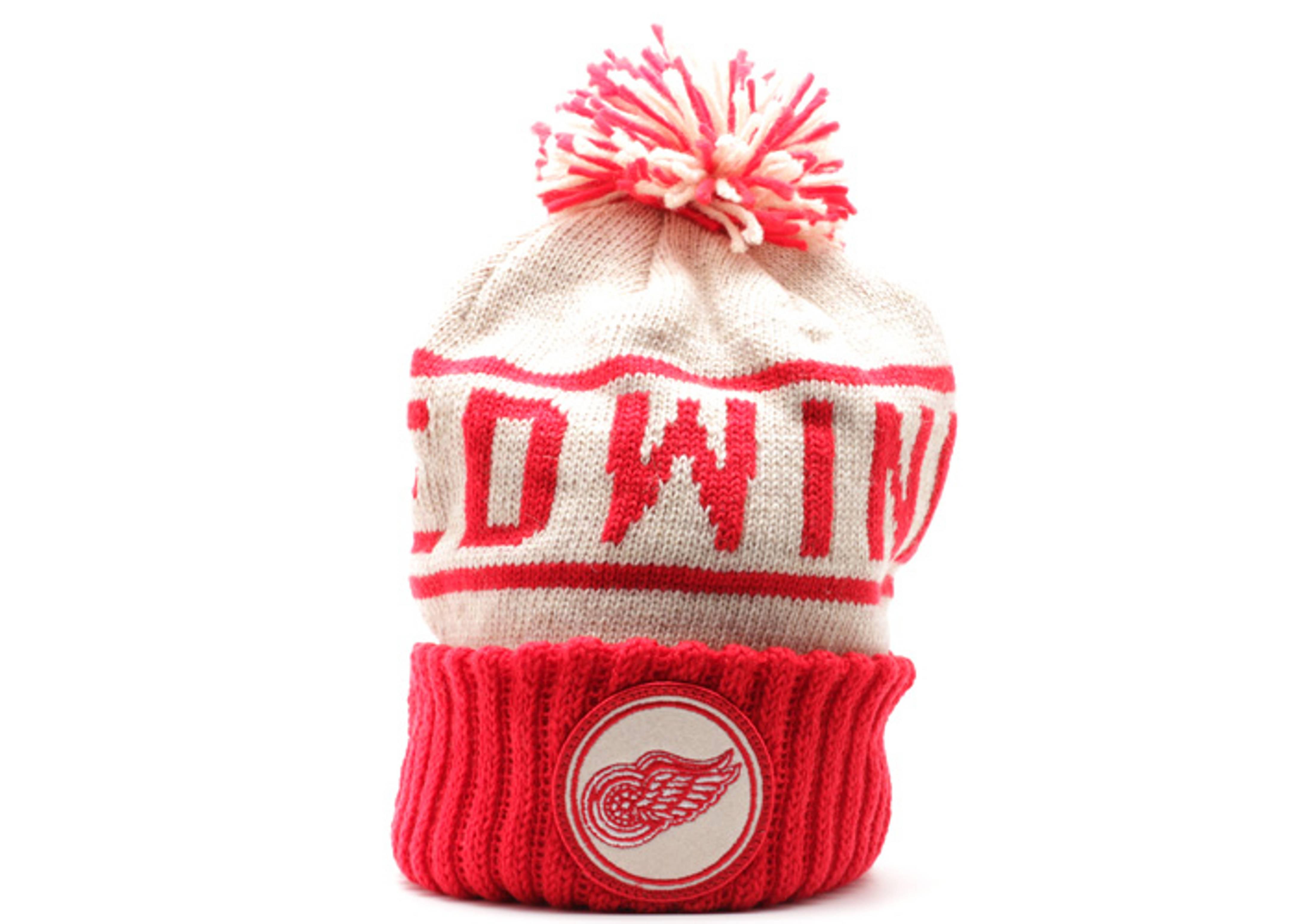 detroit redwings cuffed pom knit beanie