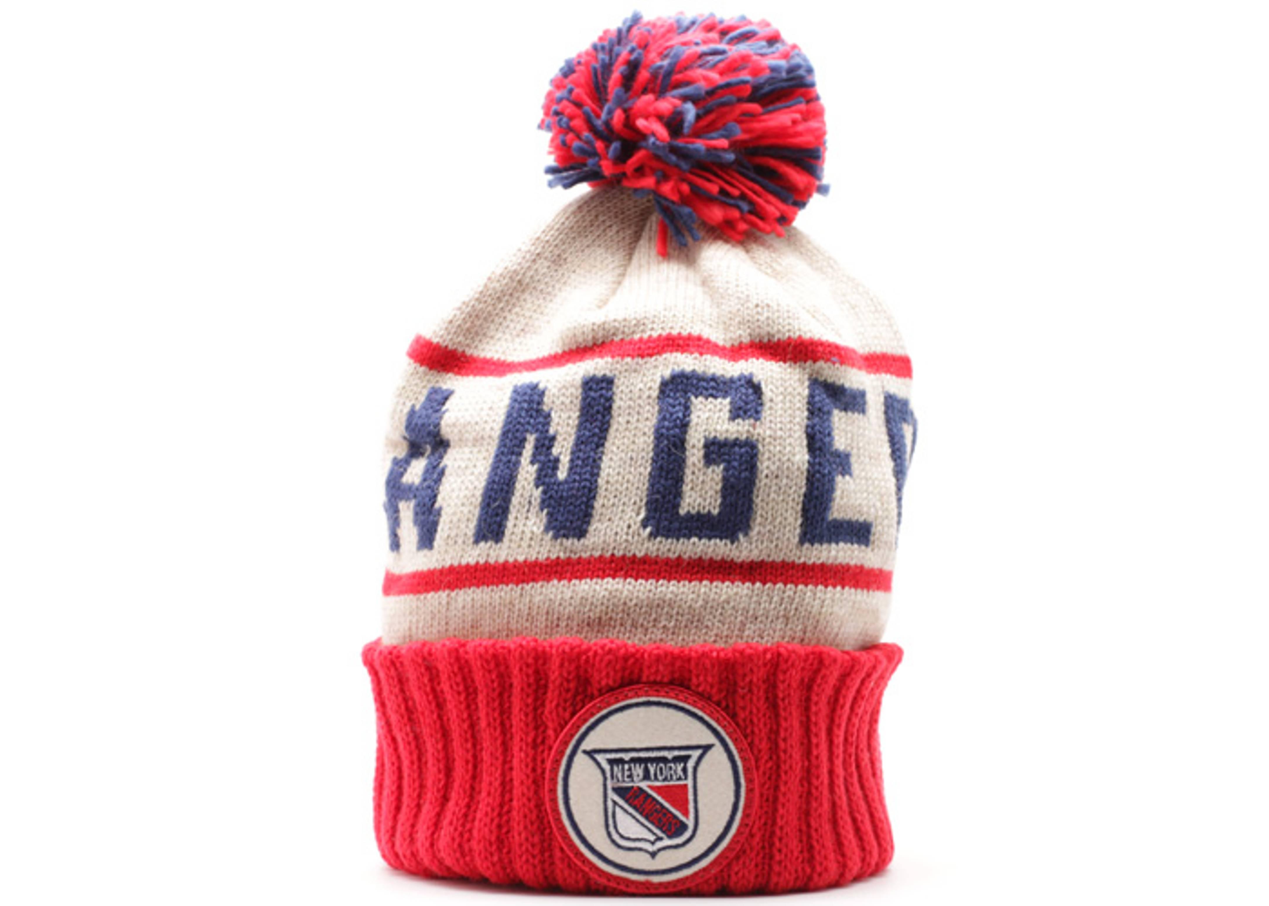 new york rangers cuffed pom knit beanie