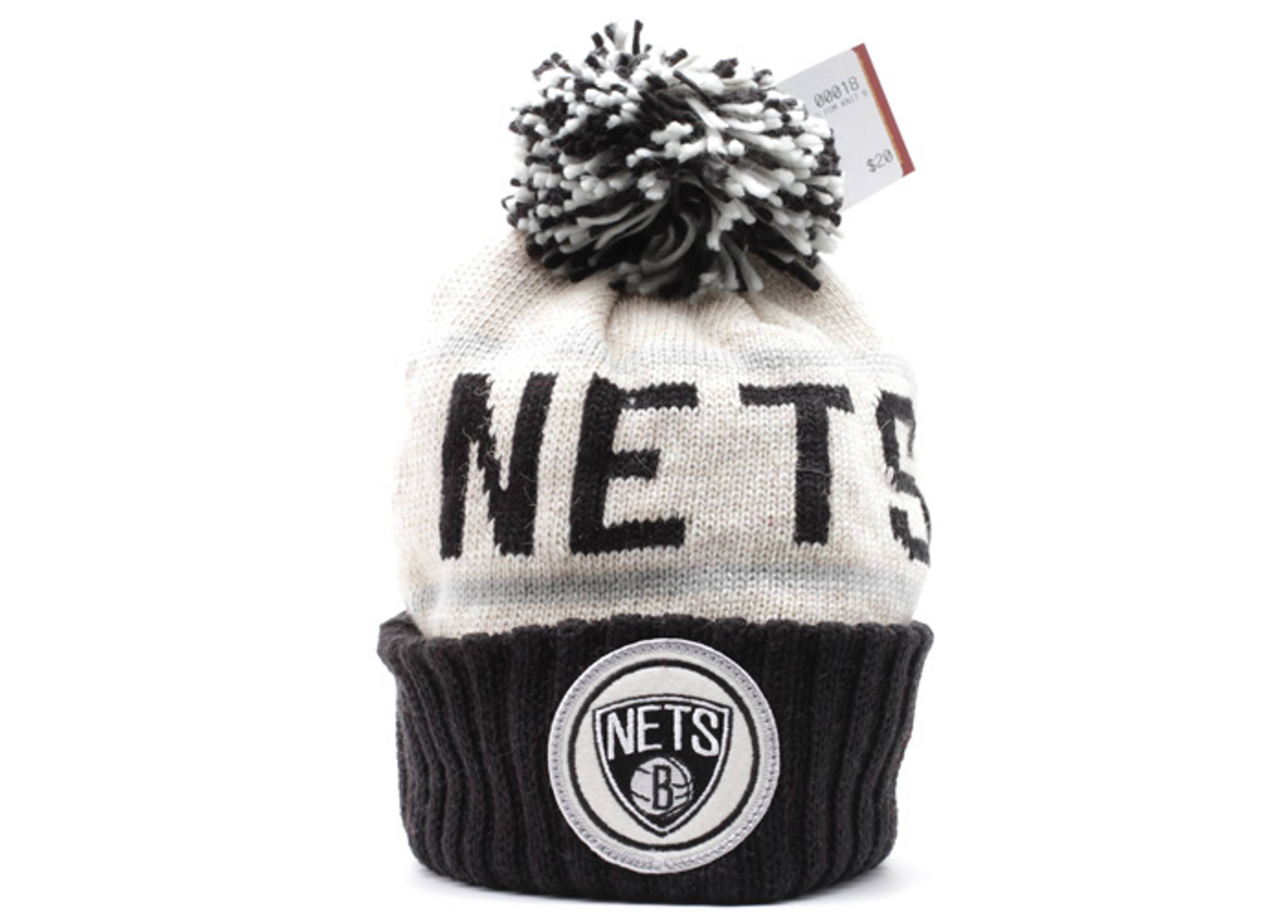 brooklyn nets cuffed pom knit beanie
