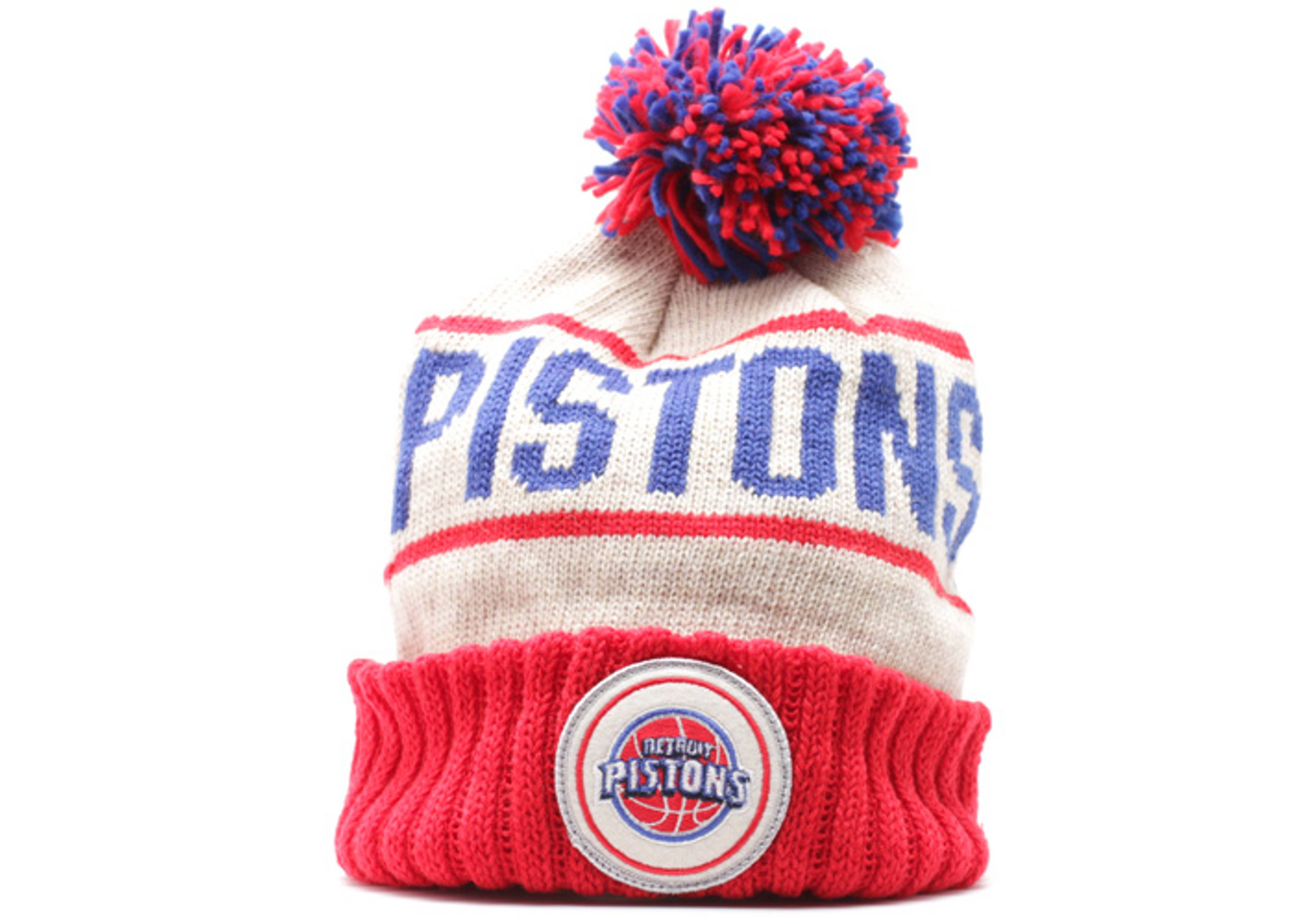 detroit pistons cuffed pom knit beanie