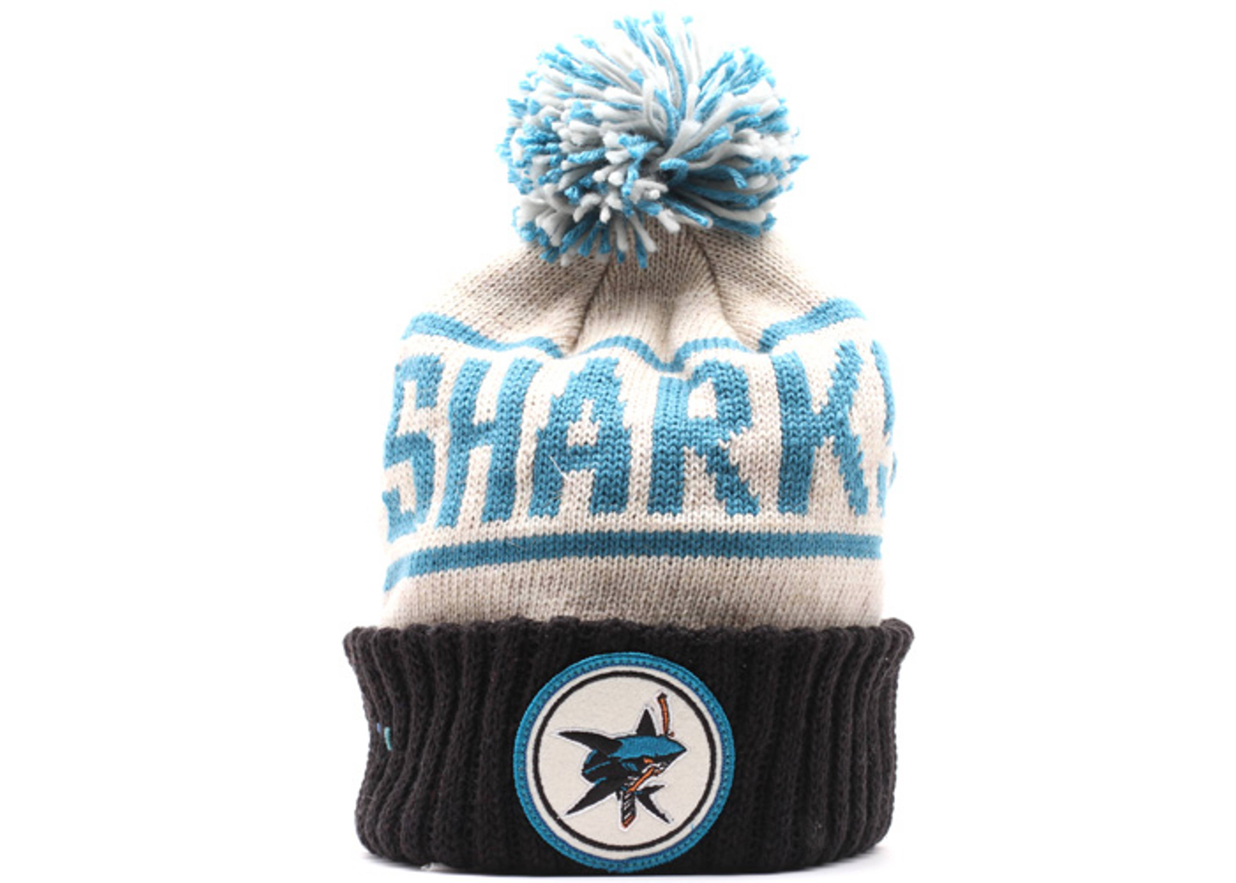 san jose sharks cuffed pom knit beanie