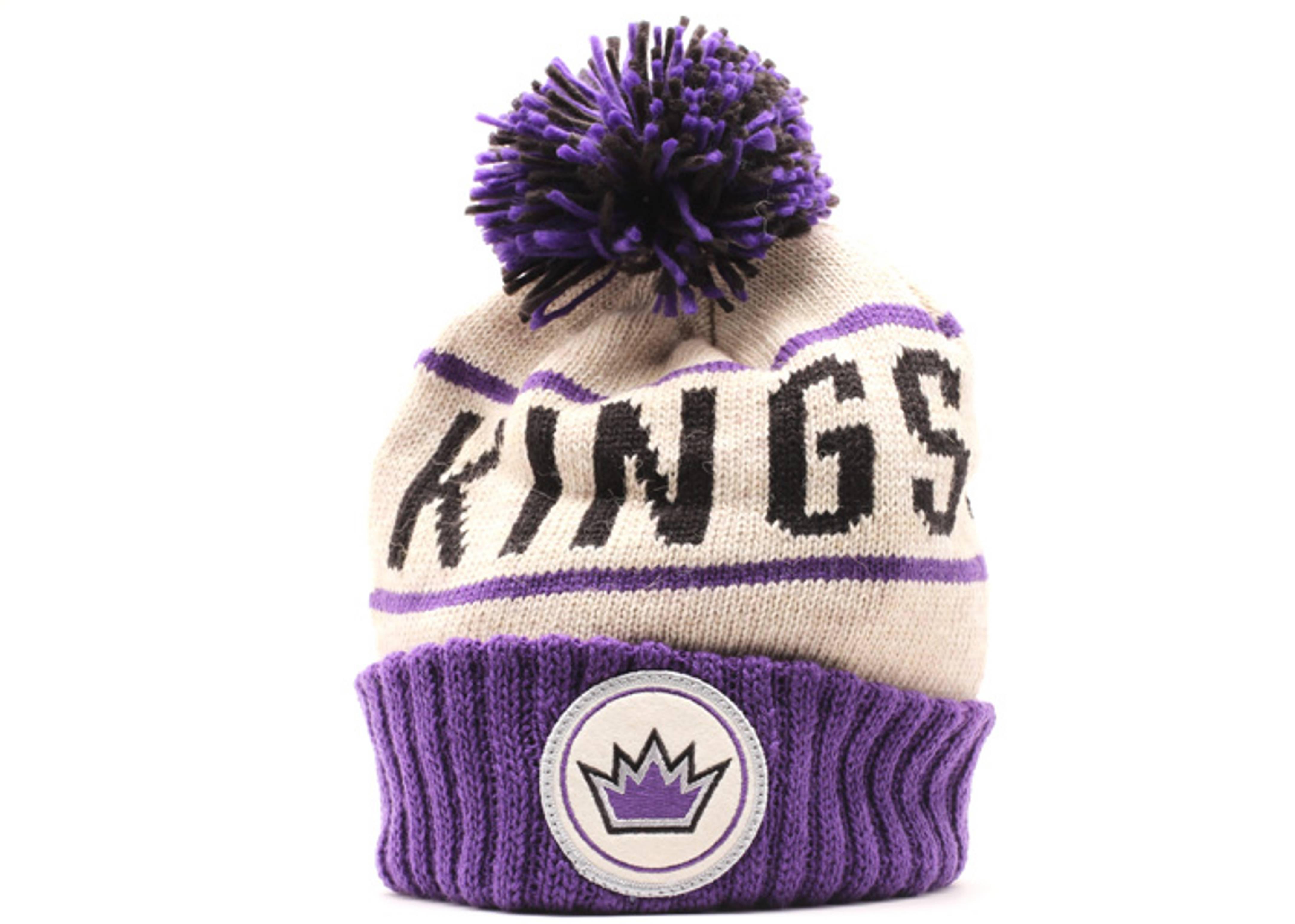 los angeles kings cuffed pom knit beanie