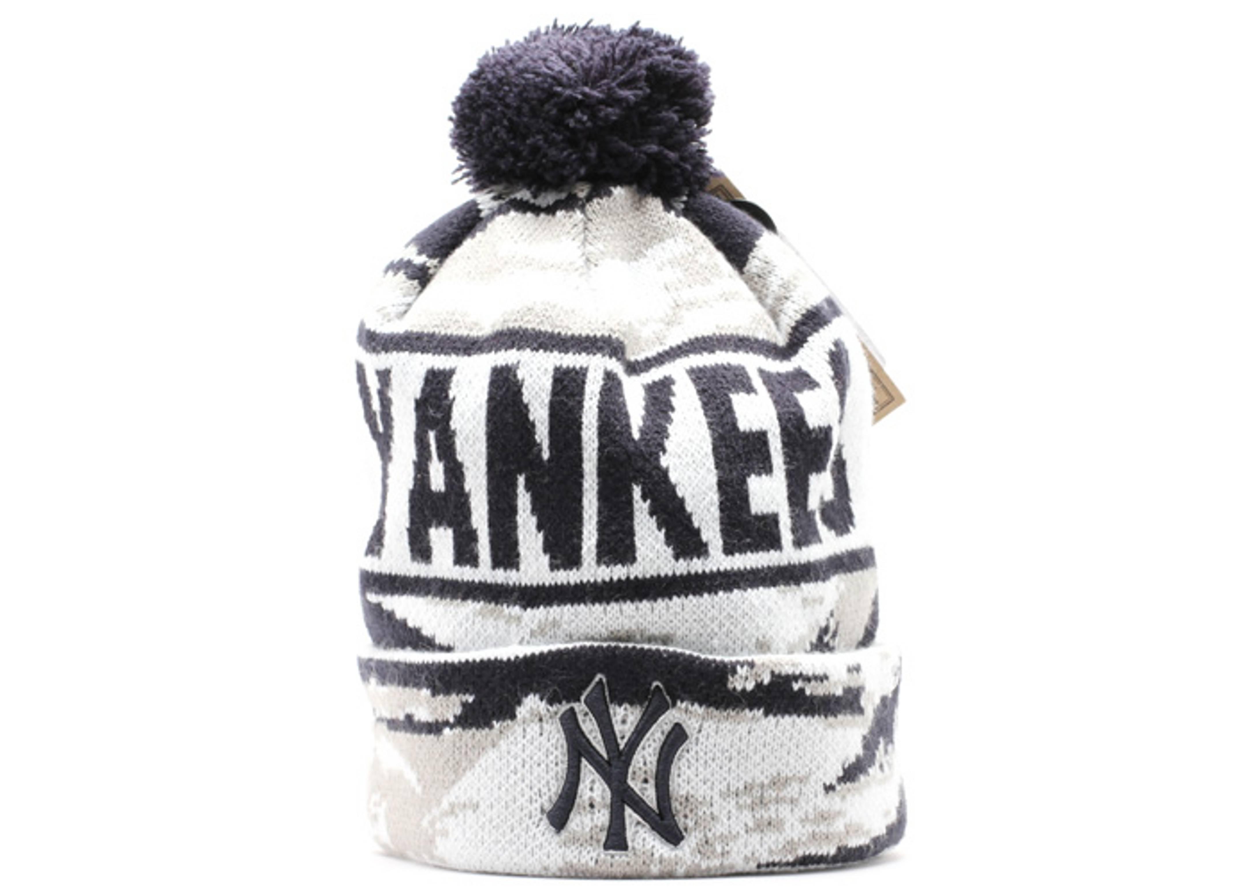 "new york yankees cuffed pom knit beanie ""tiger camo"""