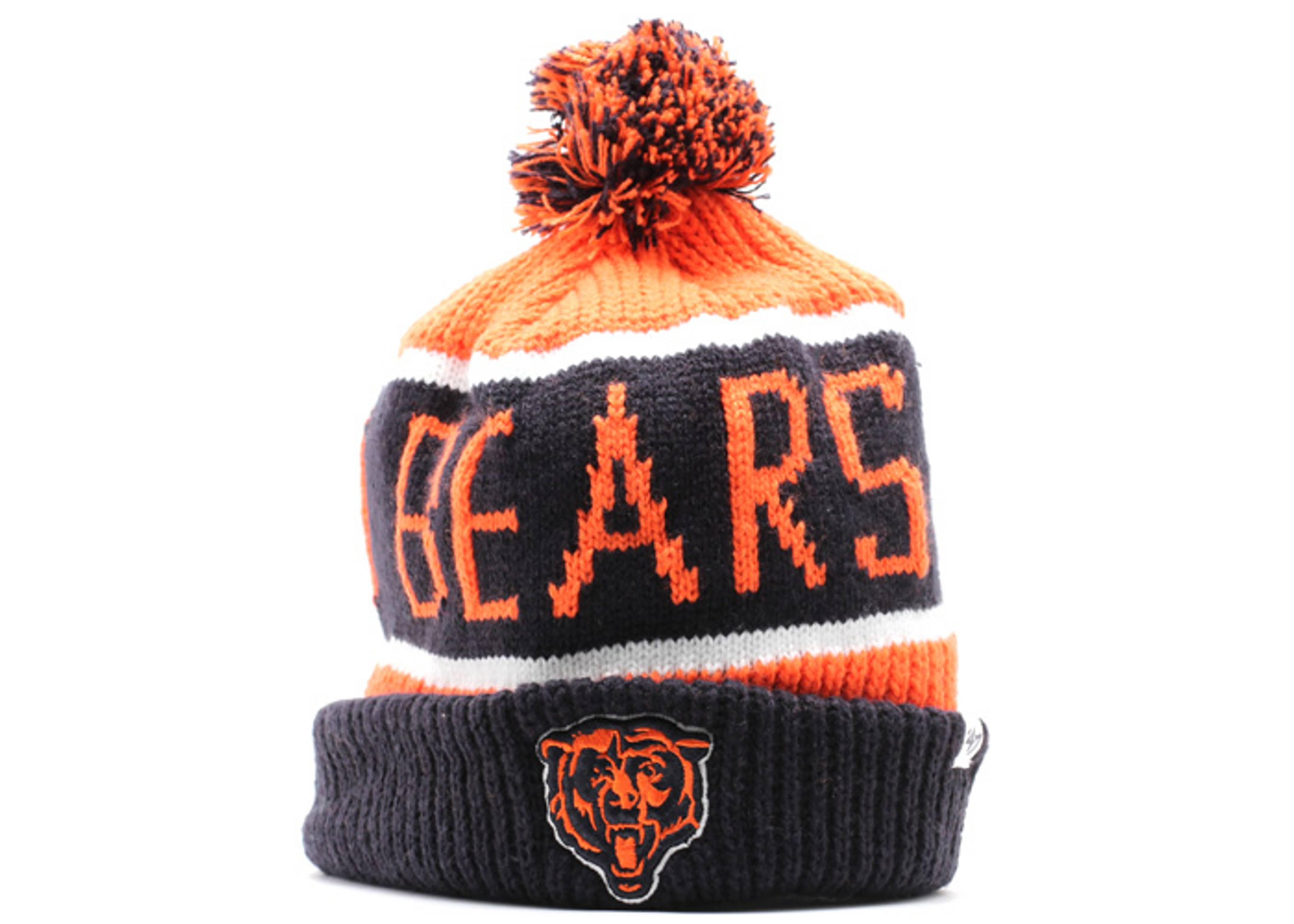 chicago bears cuffed pom knit beanie