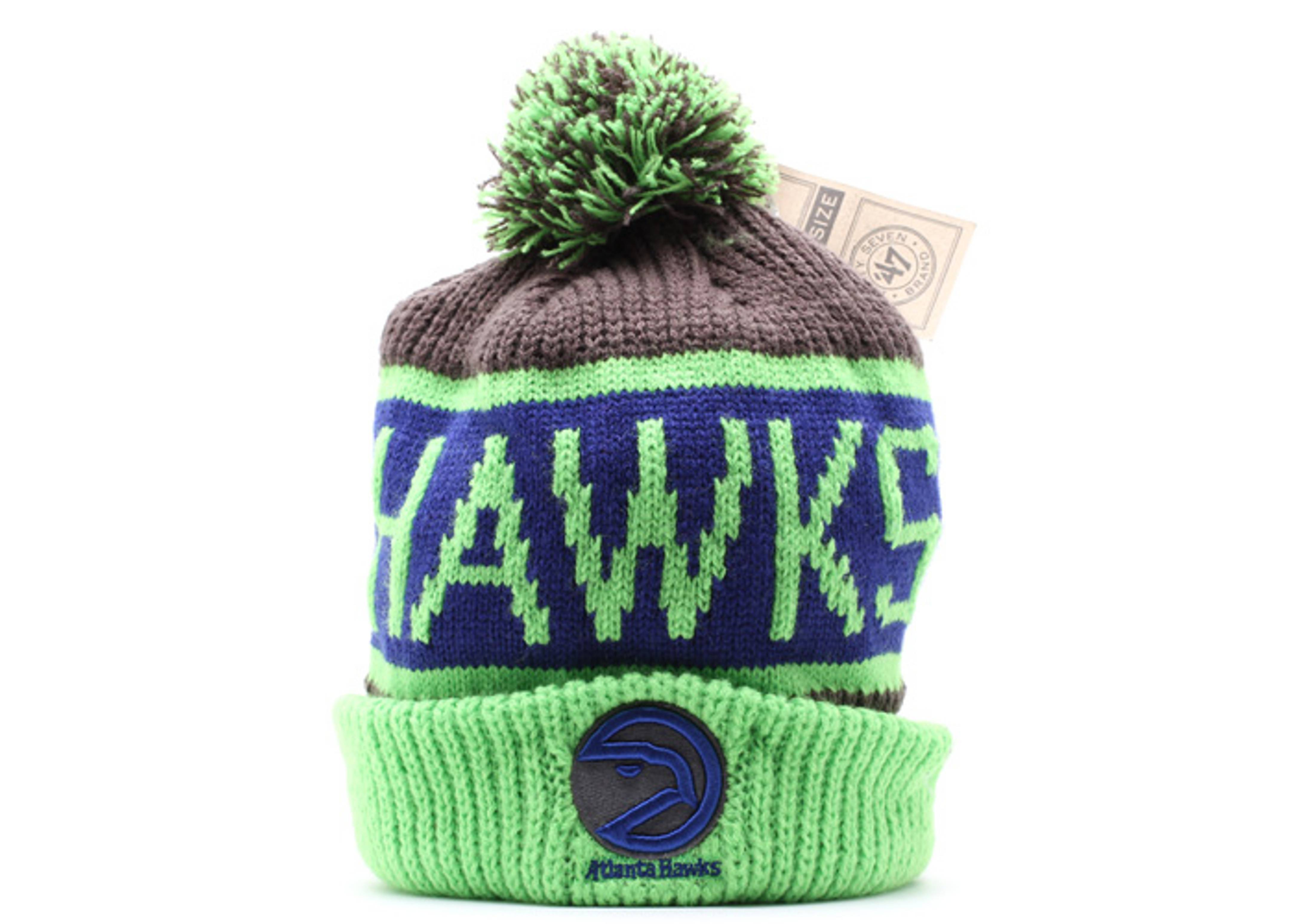 atlanta hawks cuffed pom knit beanie