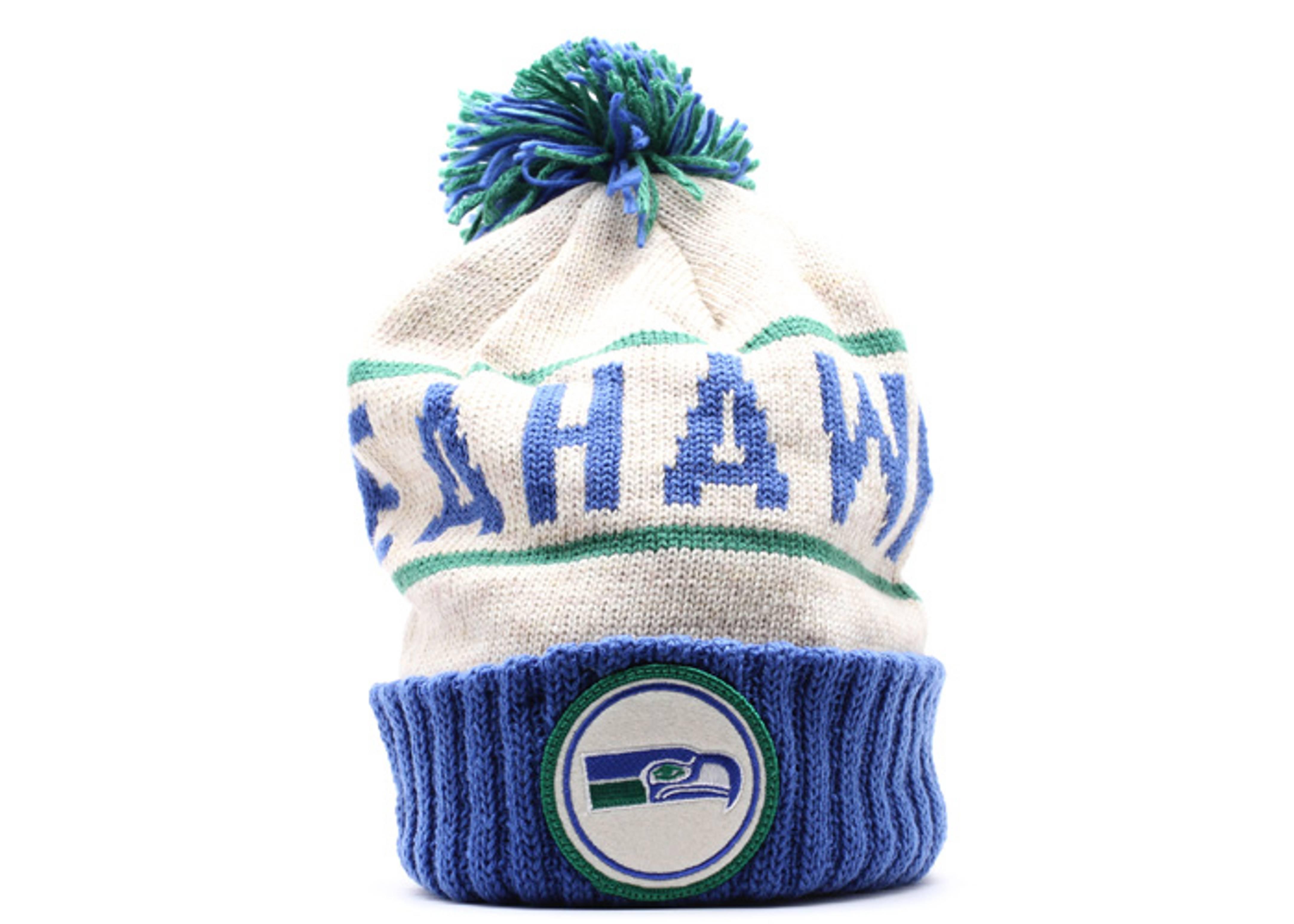 seattle seahawks cuffed pom knit beanie