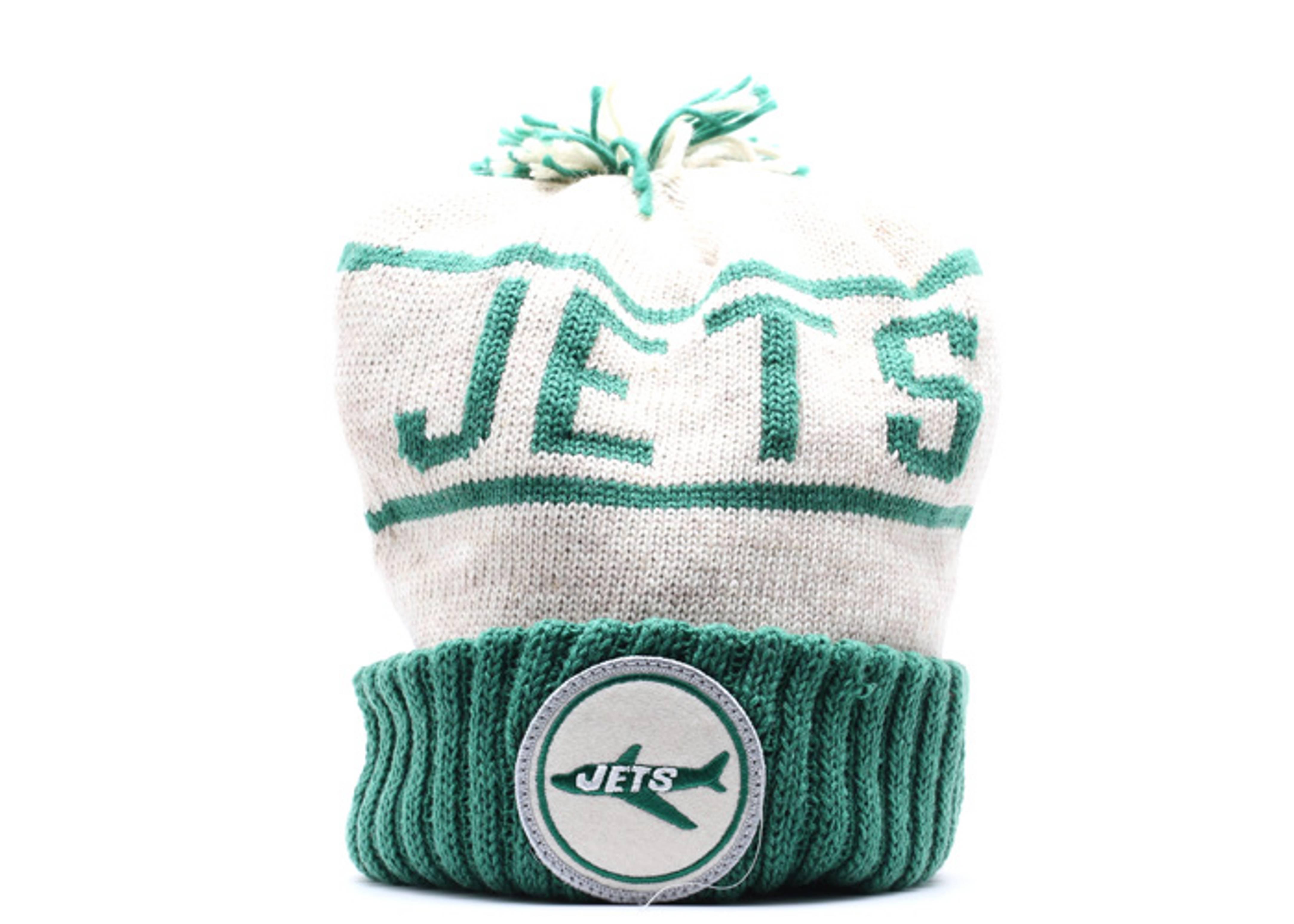new york jets cuffed pom knit beanie