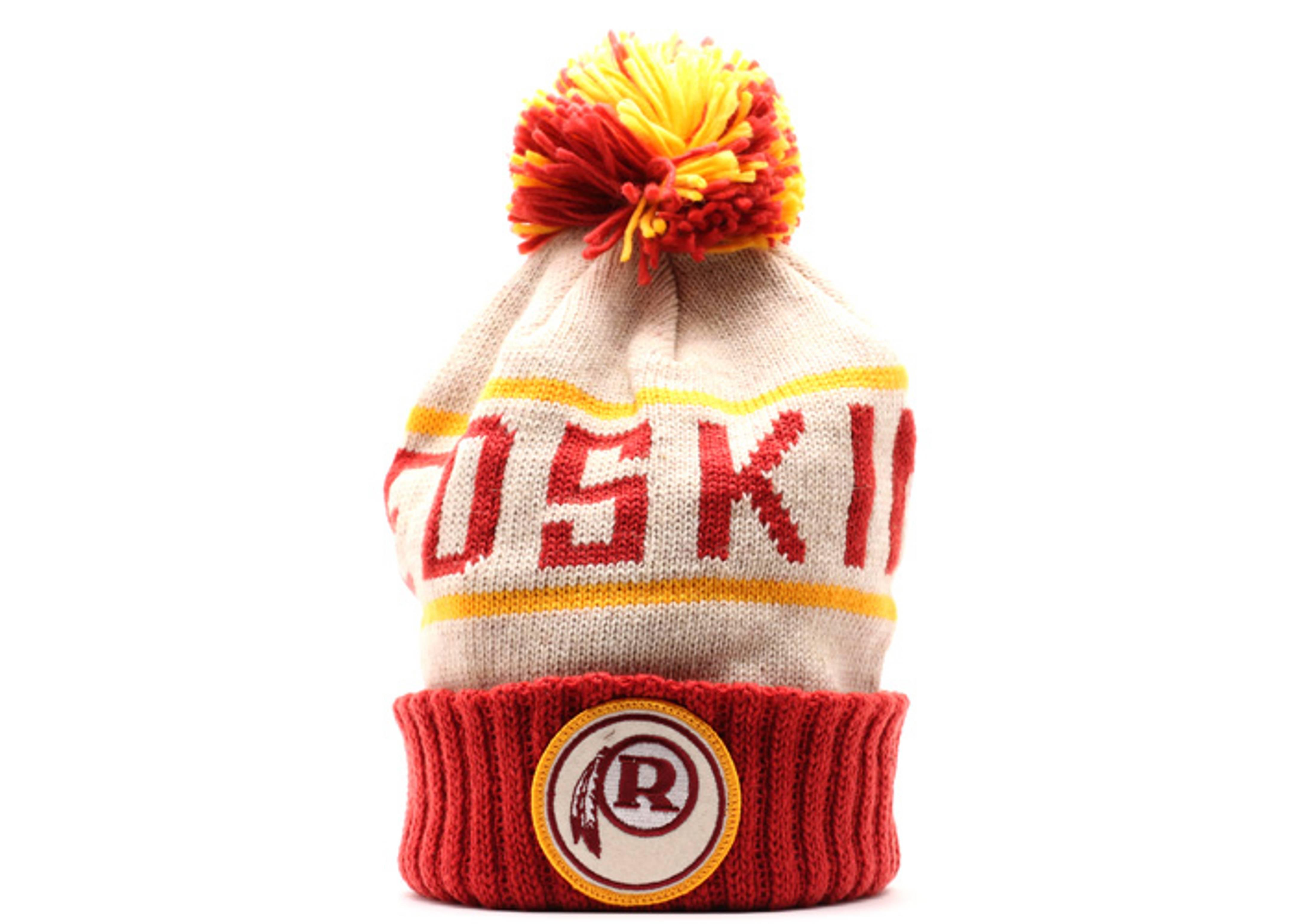 washington redskins cuffed pom knit beanie