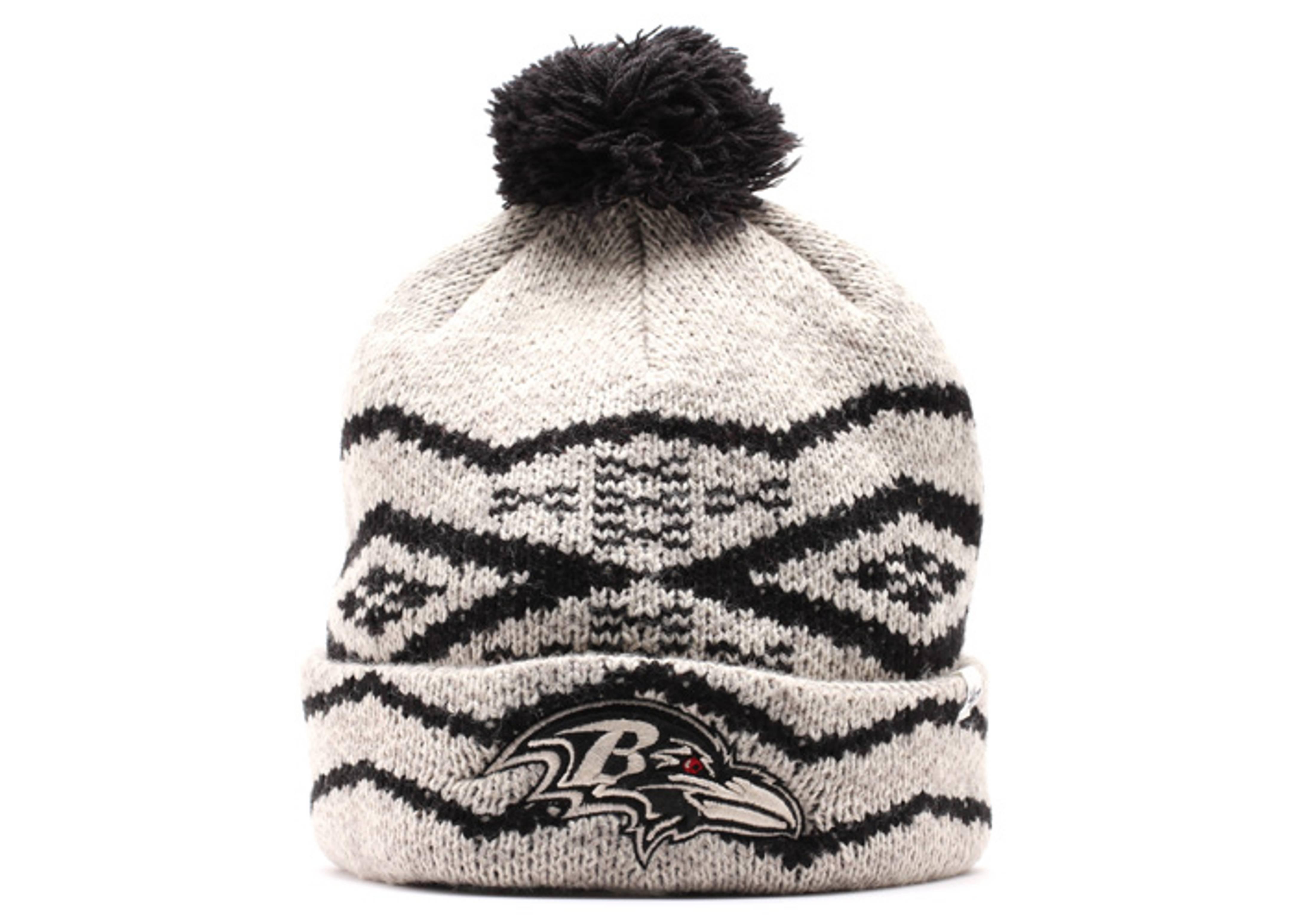 baltimore ravens cuffed pom knit beanie