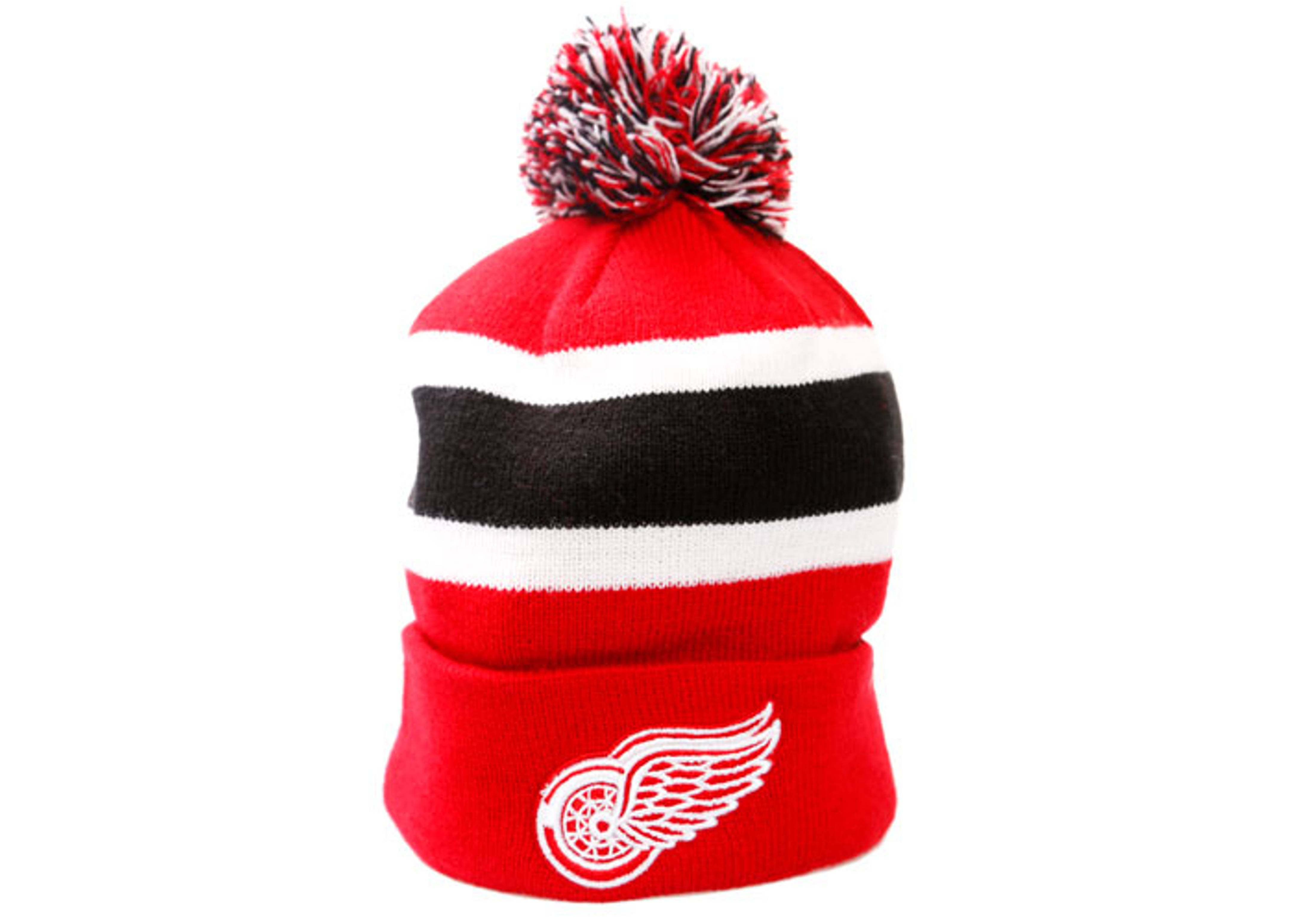 detroit red wings cuffed pom knit beanie