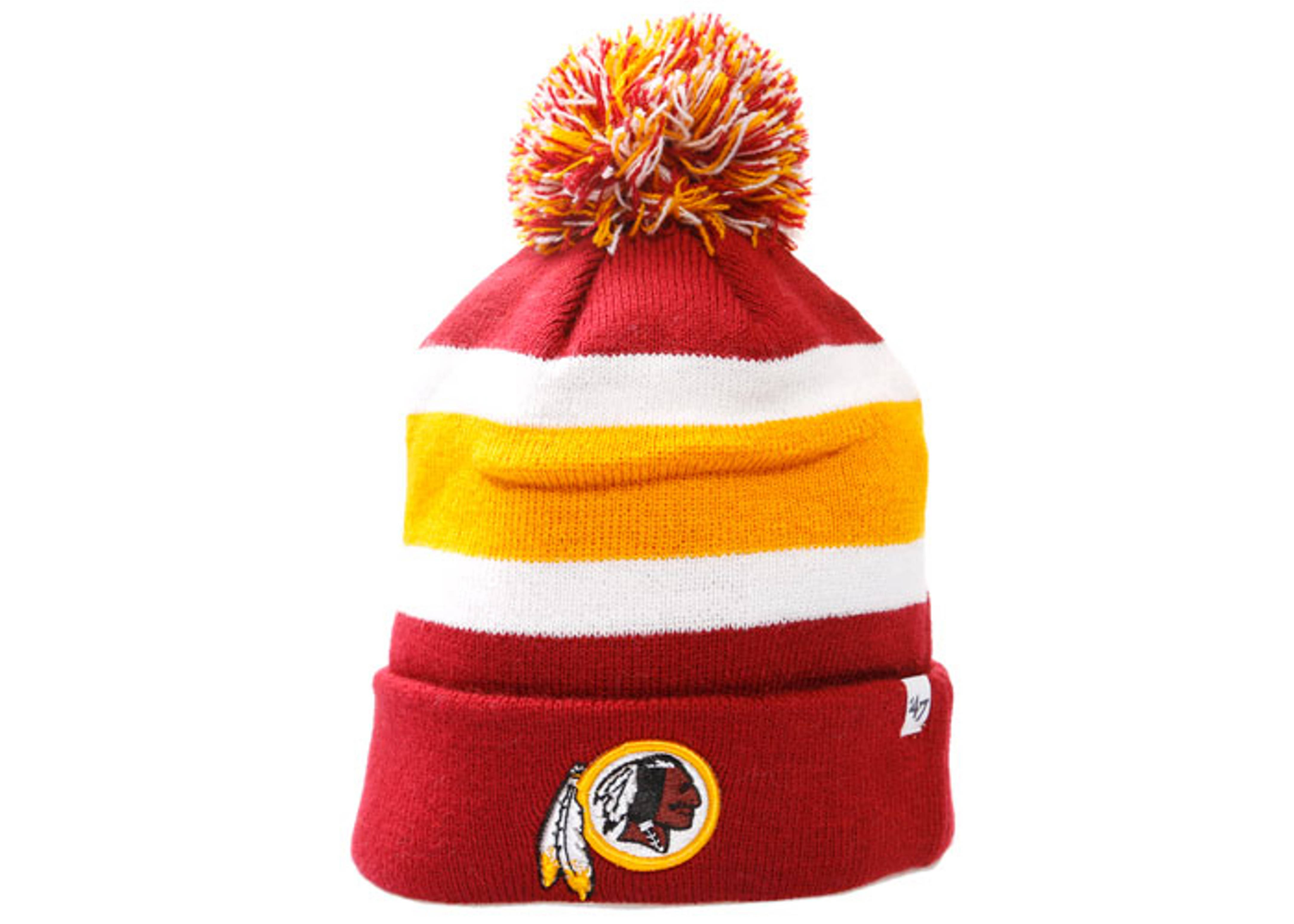 washington redskins cuffed pom knit beanie