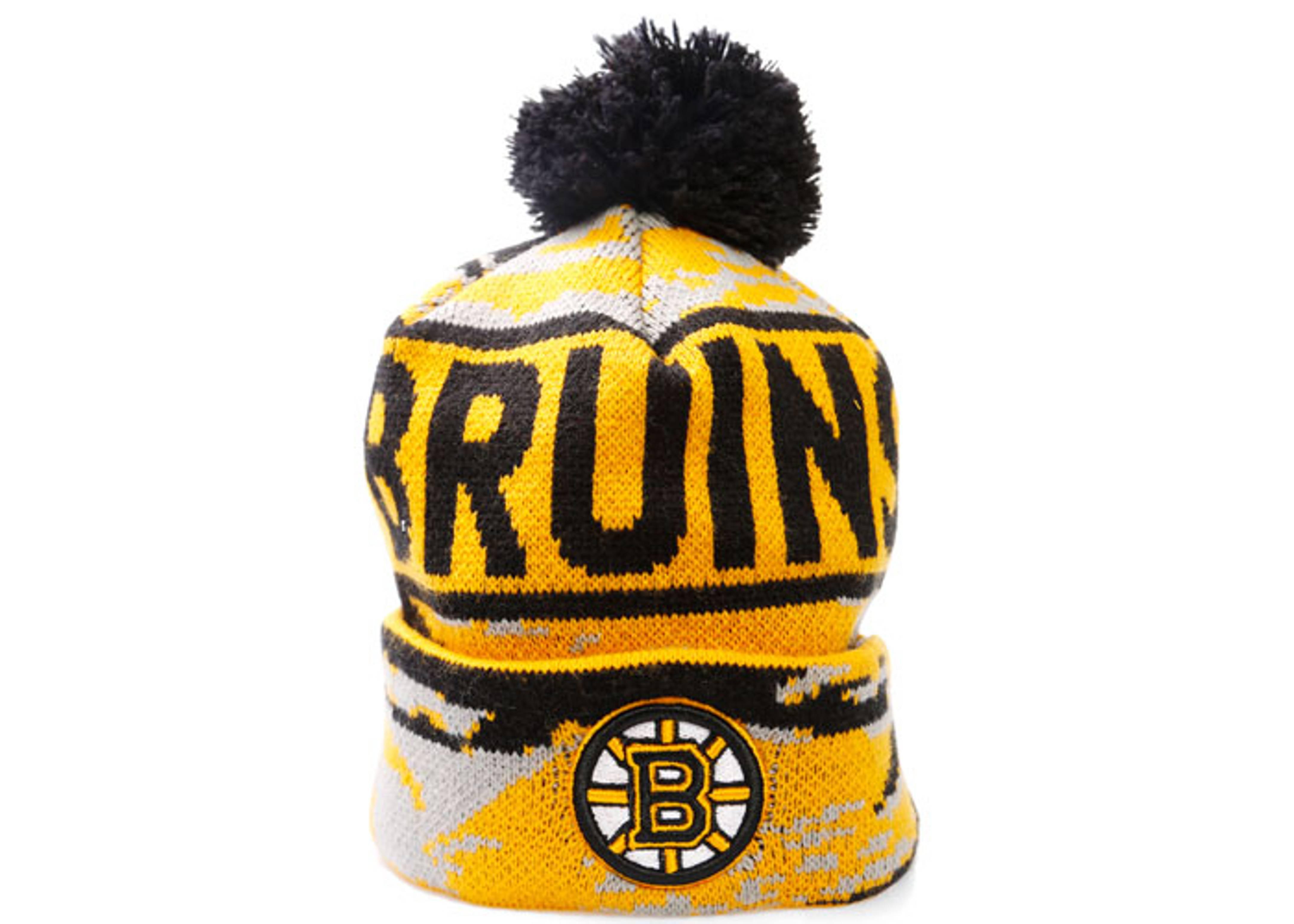 "boston bruins cuffed pom knit beanie ""tiger camo"""