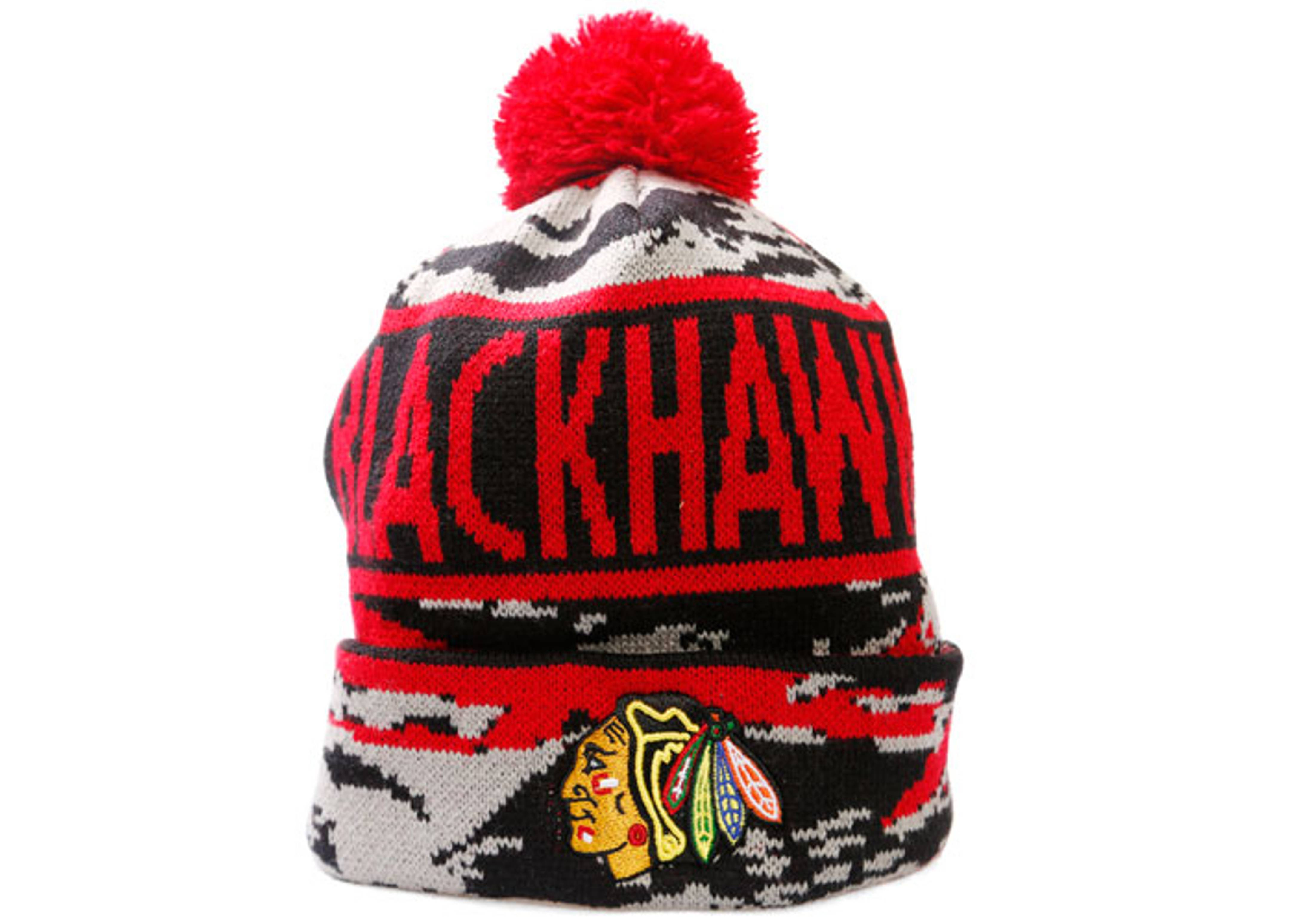 "chicago blackhawks cuffed pom knit beanie ""tiger camo"""