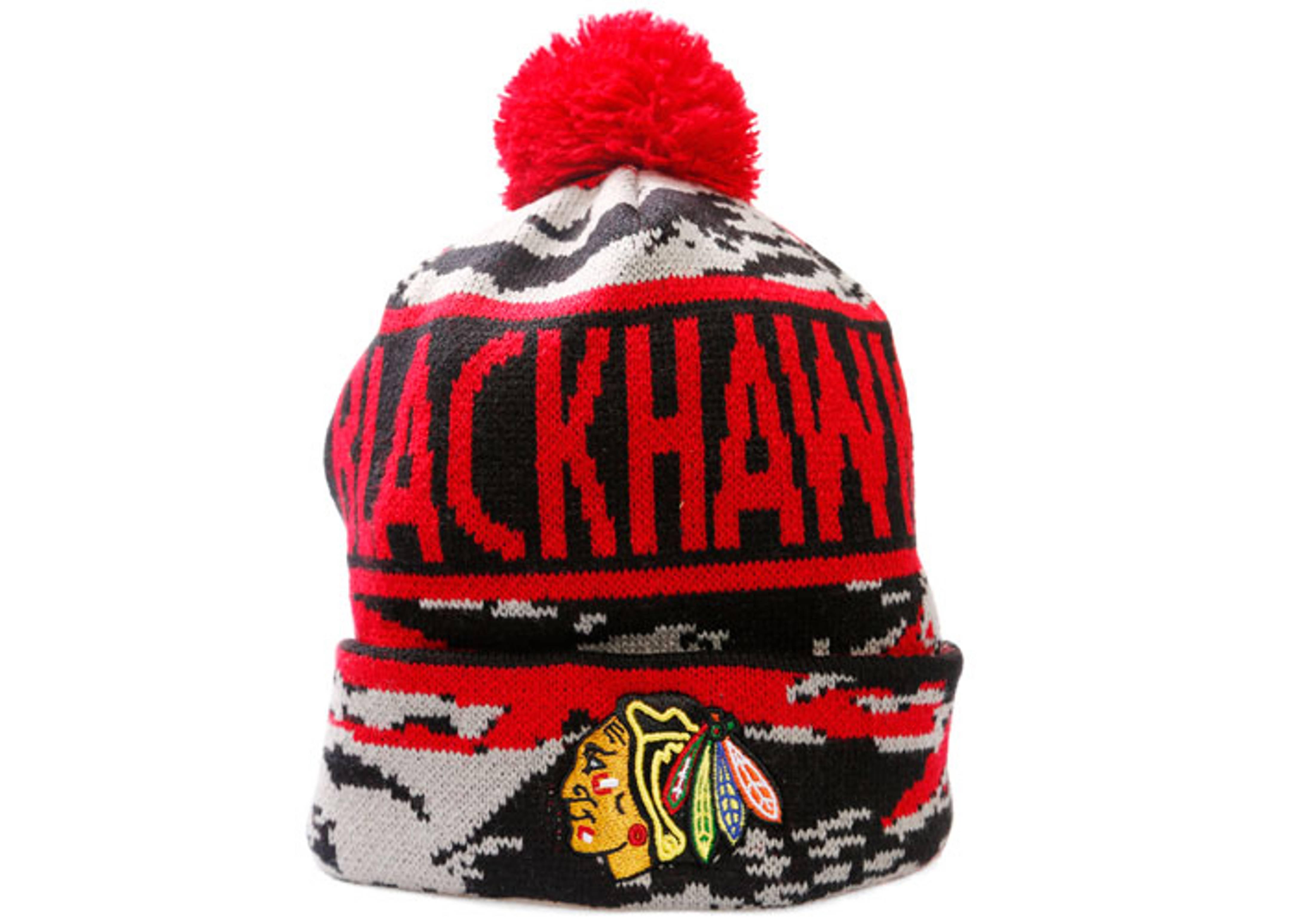 """chicago blackhawks cuffed pom knit beanie """"tiger camo"""""""