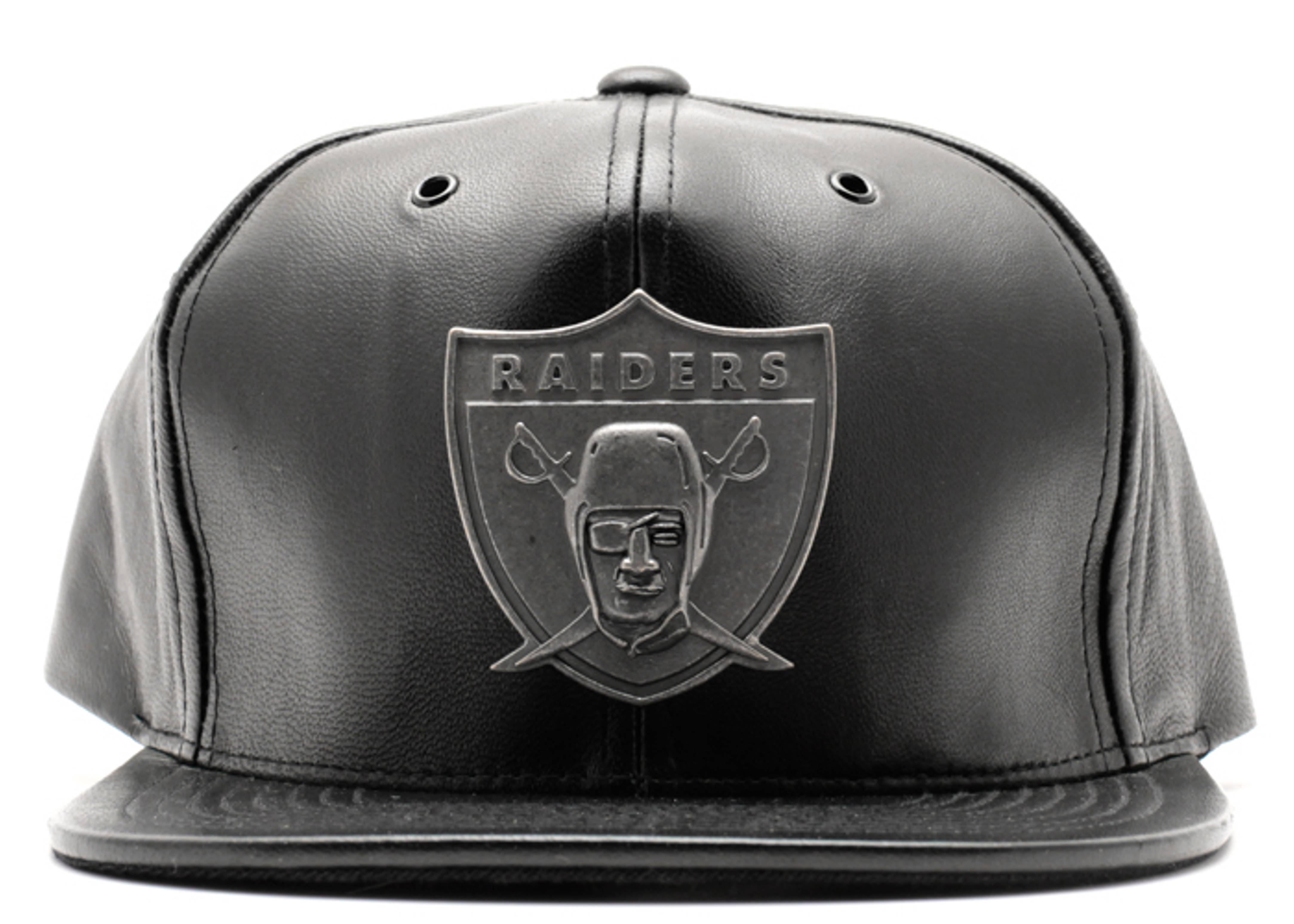 "oakland raiders leather snap-back ""metal brooch"""